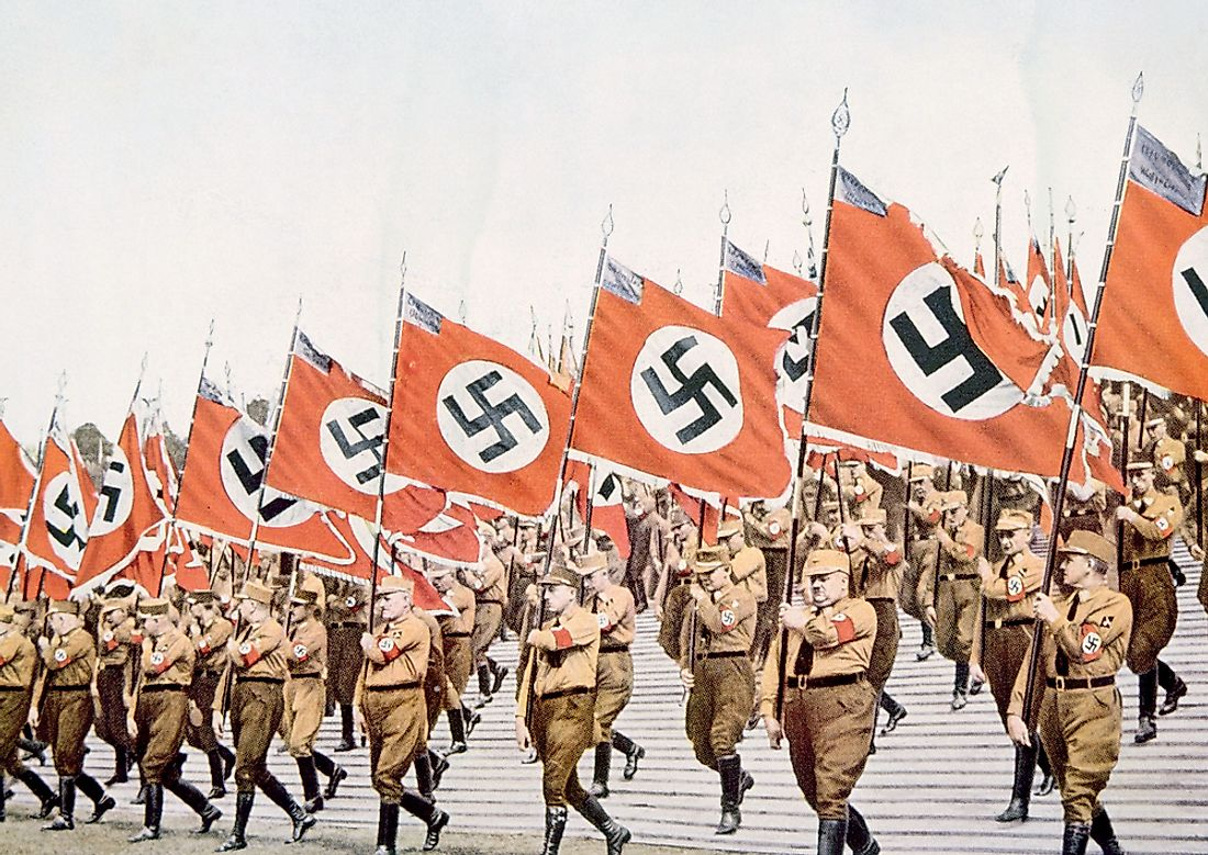 Soldiers march in Nazi Germany. Editorial credit: Everett Historical / Shutterstock.com.