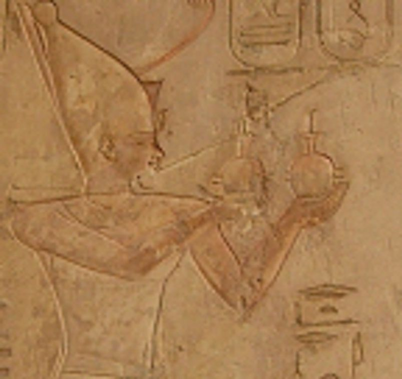 Psamtek I (first Pharaoh of the Late Period and 26th Dynasty) worshiping Ra-Horakhty (a deity merging the gods Ra and Horus).