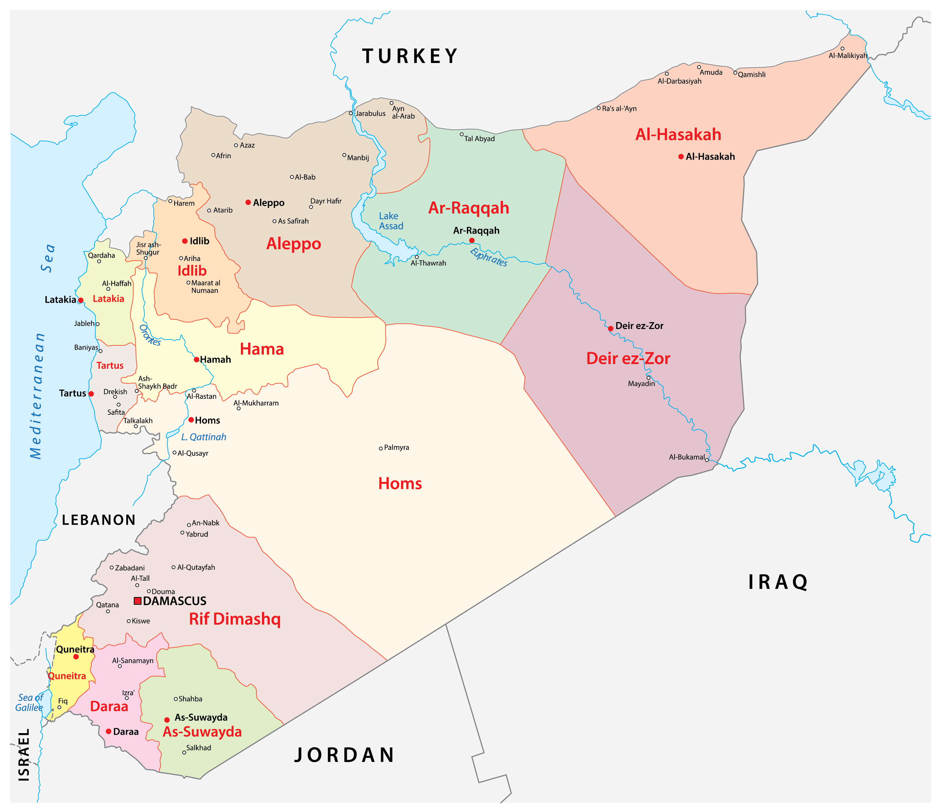 Political Map of Syria showing the 14 governorates, their capitals, and the national capital of Damascus.