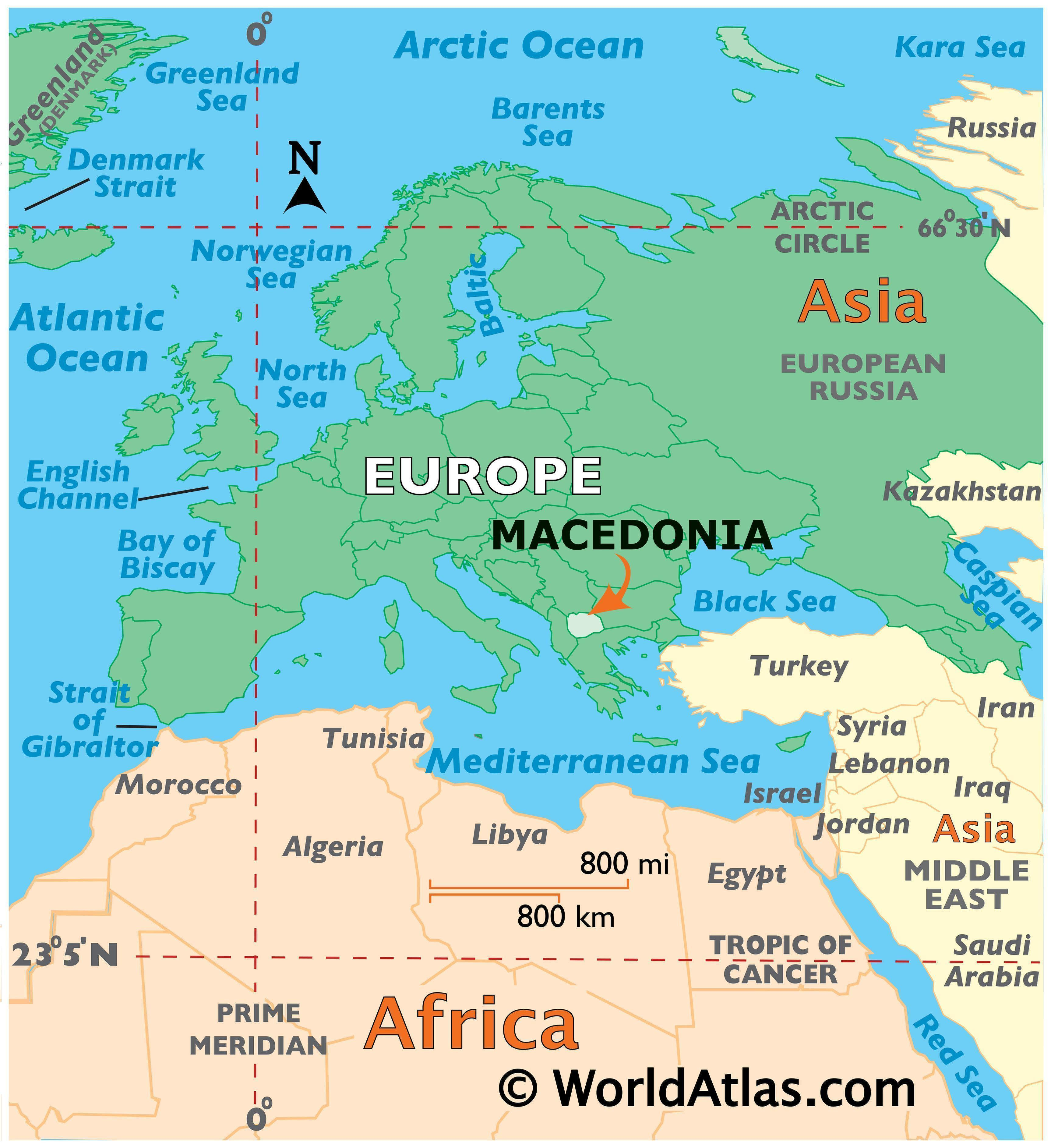Map showing location of Macedonia in the world.