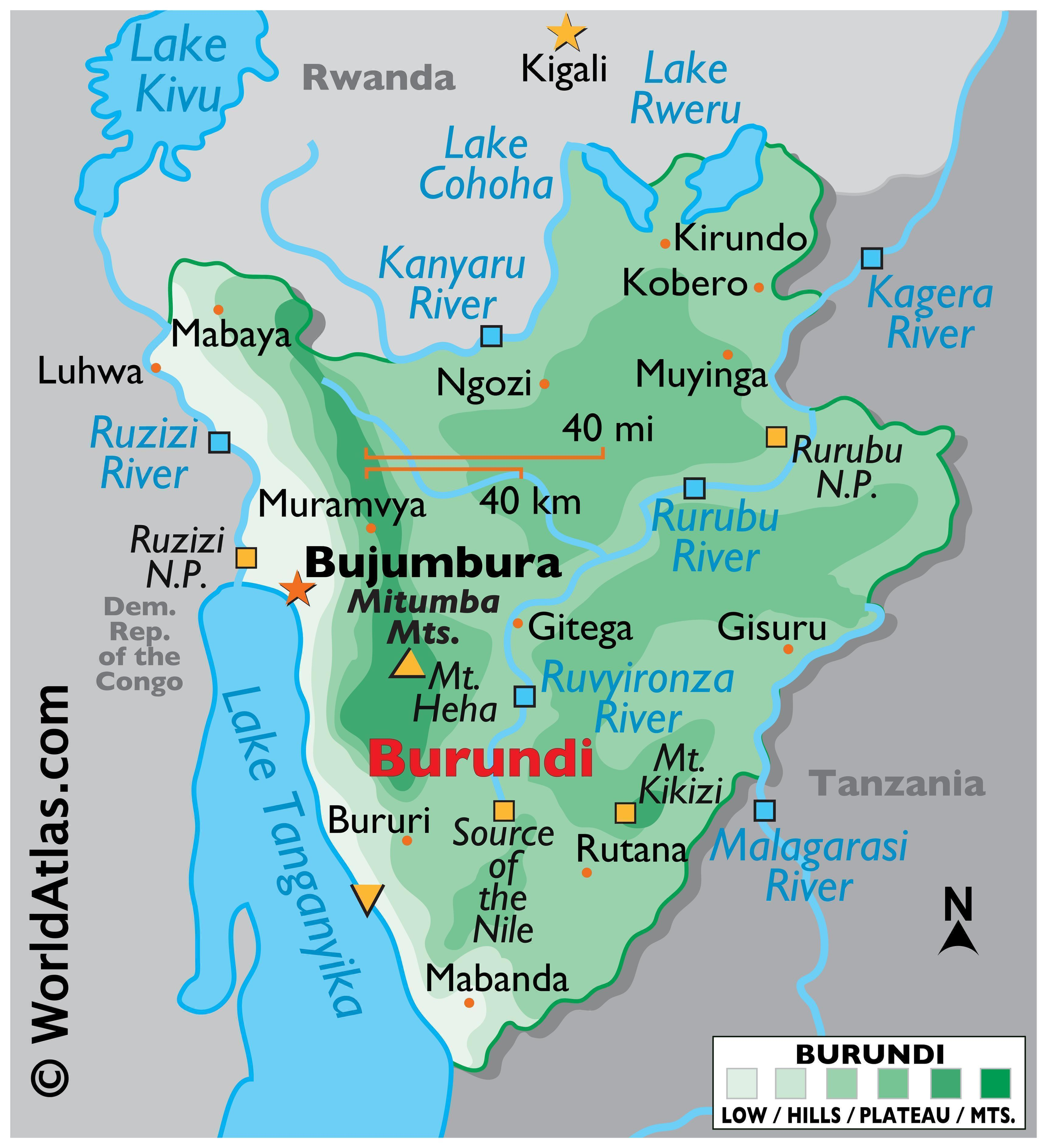 Physical Map of Burundi with state boundaries. Details the relief, physical features of the country, including mountain ranges, various bodies of water such as the Lake Tanganyika, major rivers, cities, extreme points, etc.