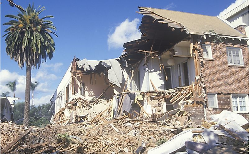 A Santa Monica apartment building destroyed by the Northridge earthquake in 1994.