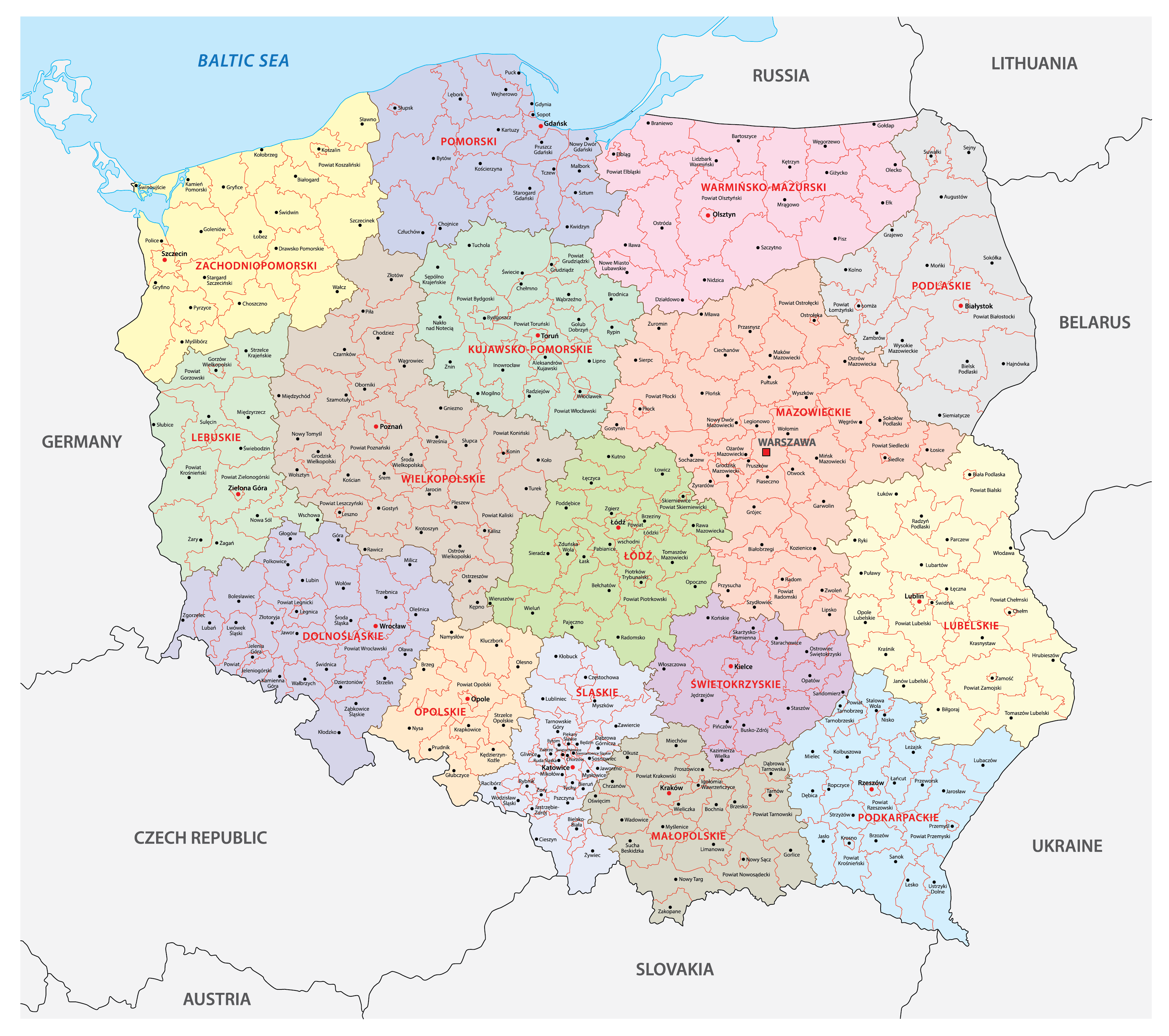 Political Map of Poland showing its 16 voivodeships and the capital city Warsaw.