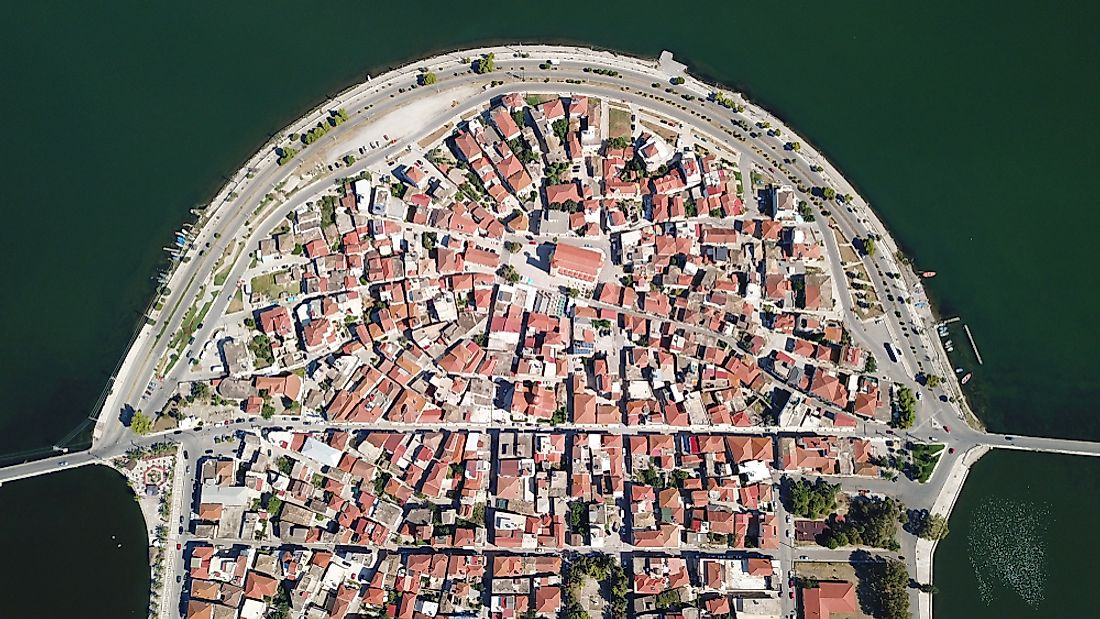 An aerial view of Aitoliko, Greece, pre-spider web. Photo credit: Shutterstock.com.