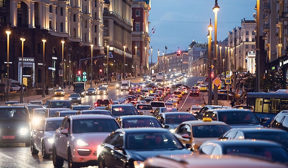 Traffic congestion in Moscow. Editorial credit: Savvapanf Photo / Shutterstock.com