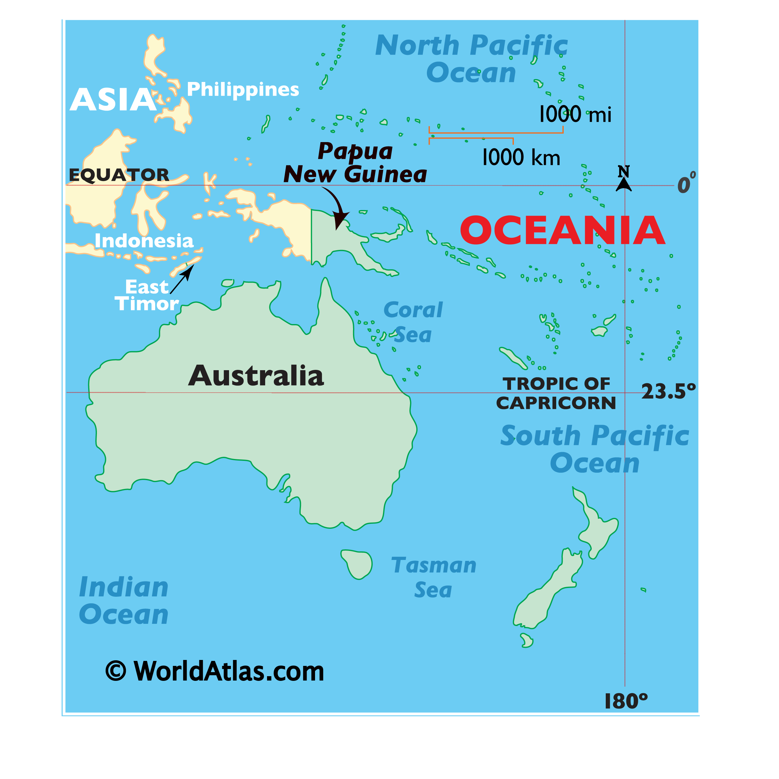 Map showing location of Papua New Guinea in the world.