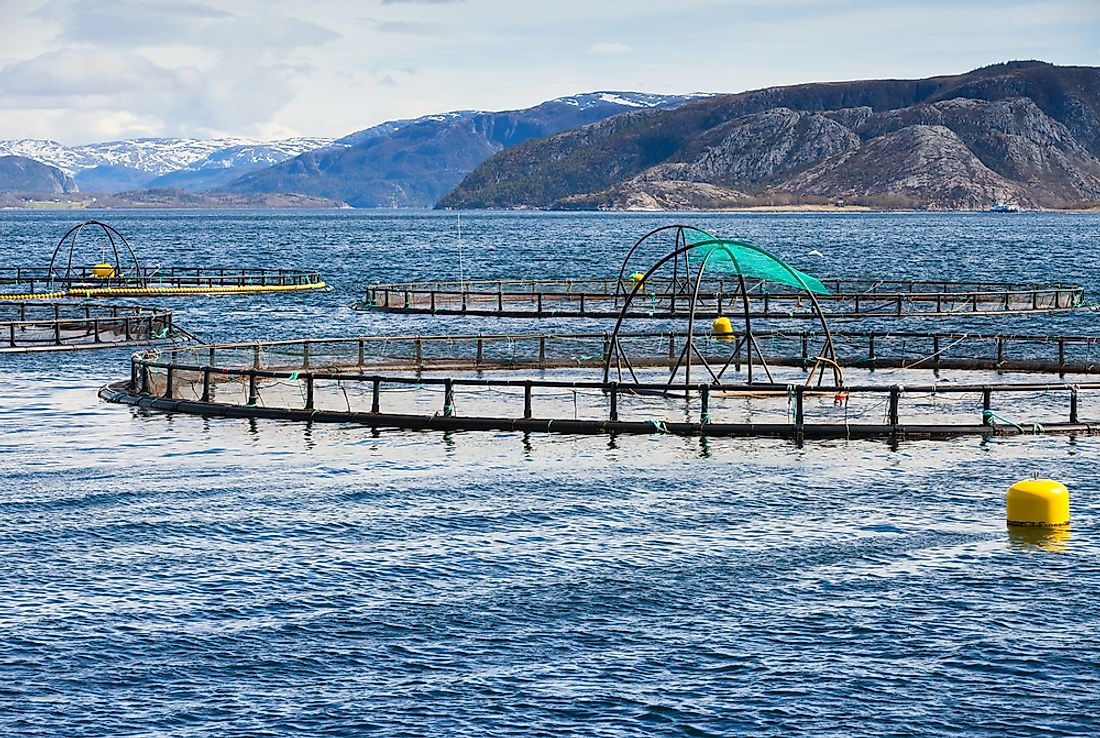 A Norwegian fish farm. Aquaculture is an important industry in the country.