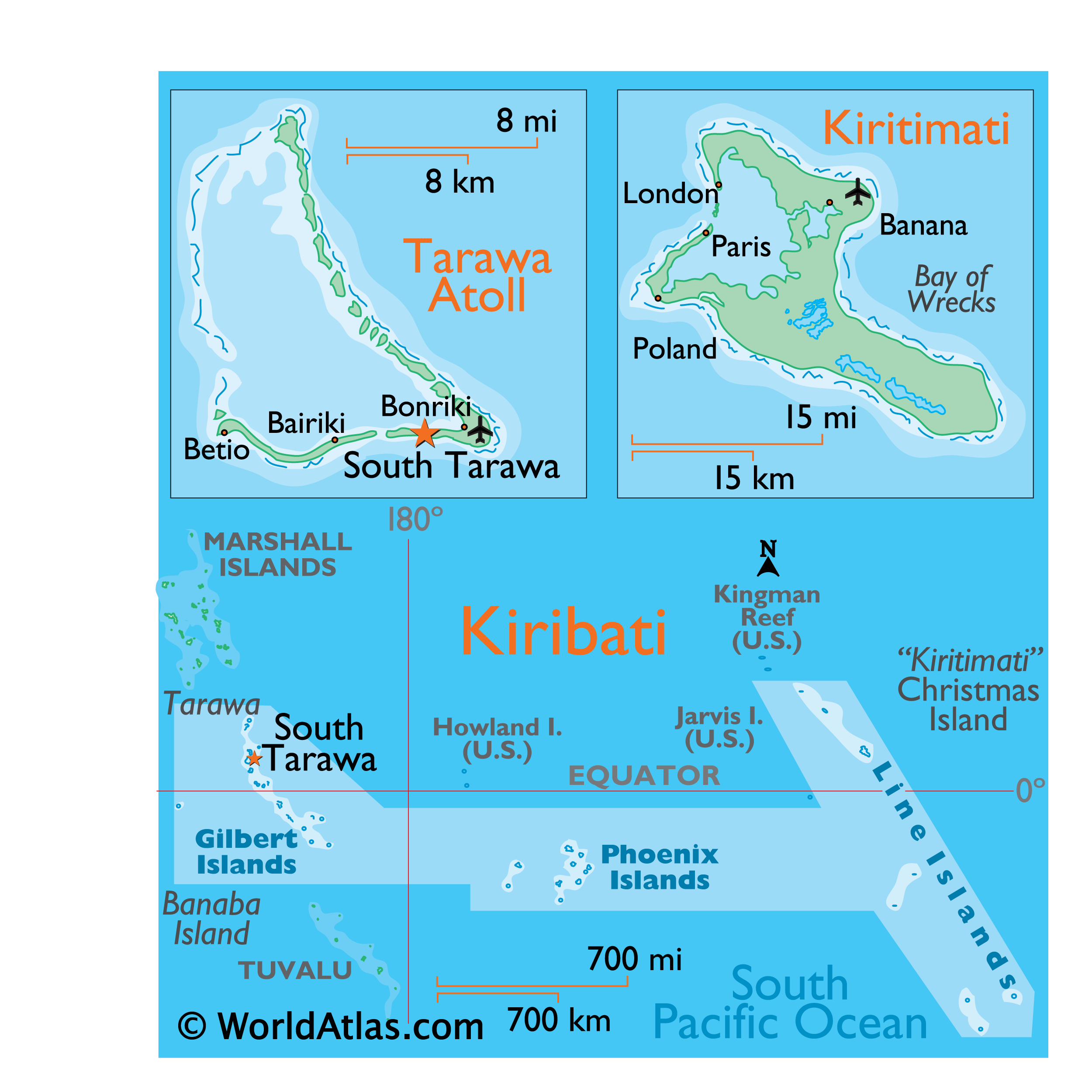 Physical Map of Kiribati showing major islands groups and islands.
