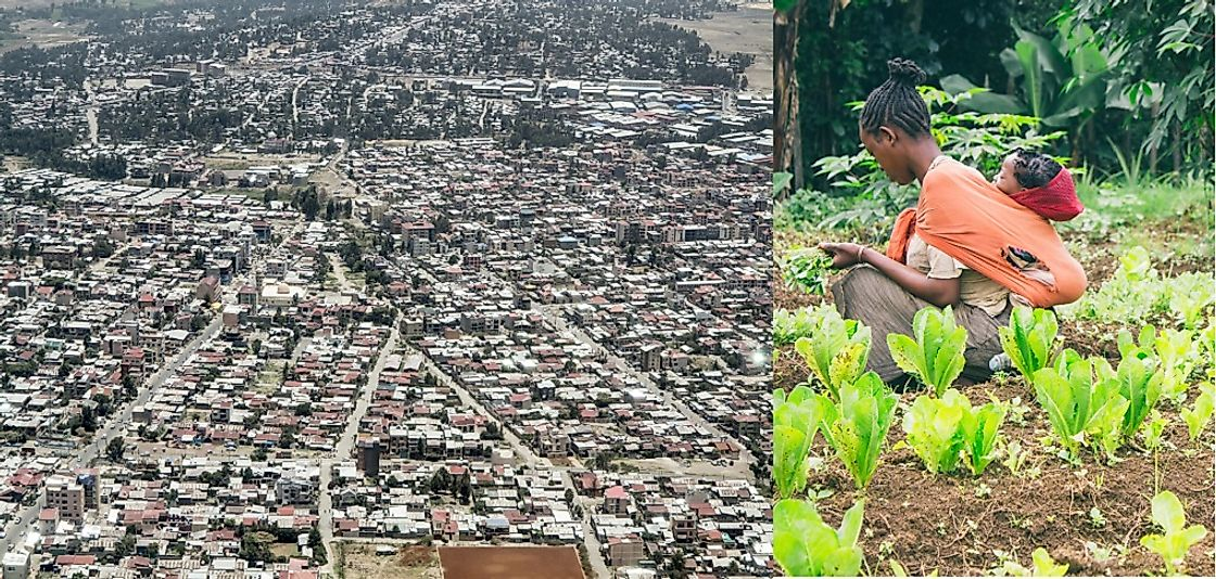 The stark contrast between rural subsistence farming in Ethiopia and the sprawling city of Addis Ababa.