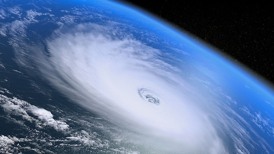 A hurricane seen from outer space.