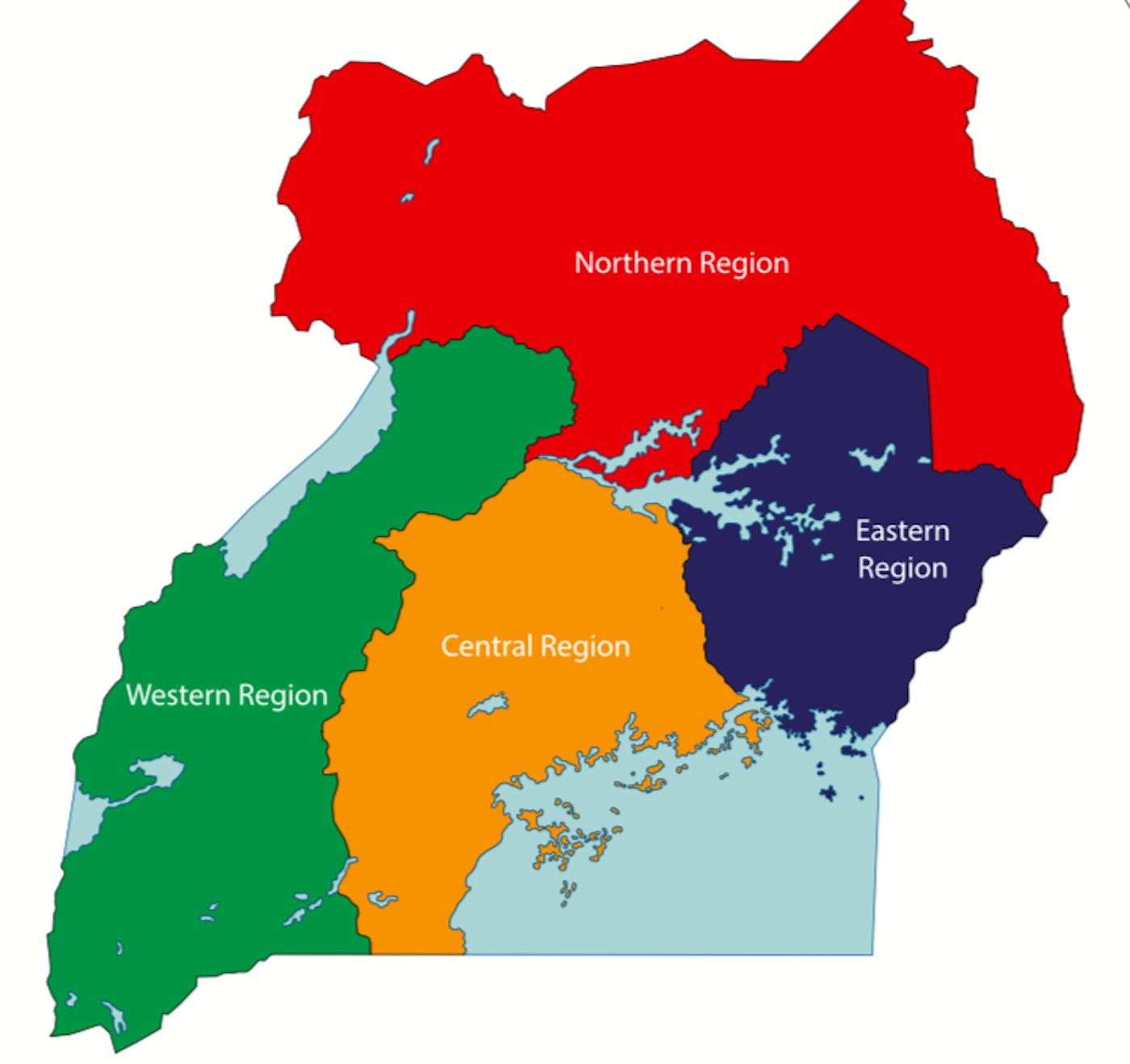 The Political Map of Uganda displaying its four major regions, their capital cities, and the national capital of Kampala.