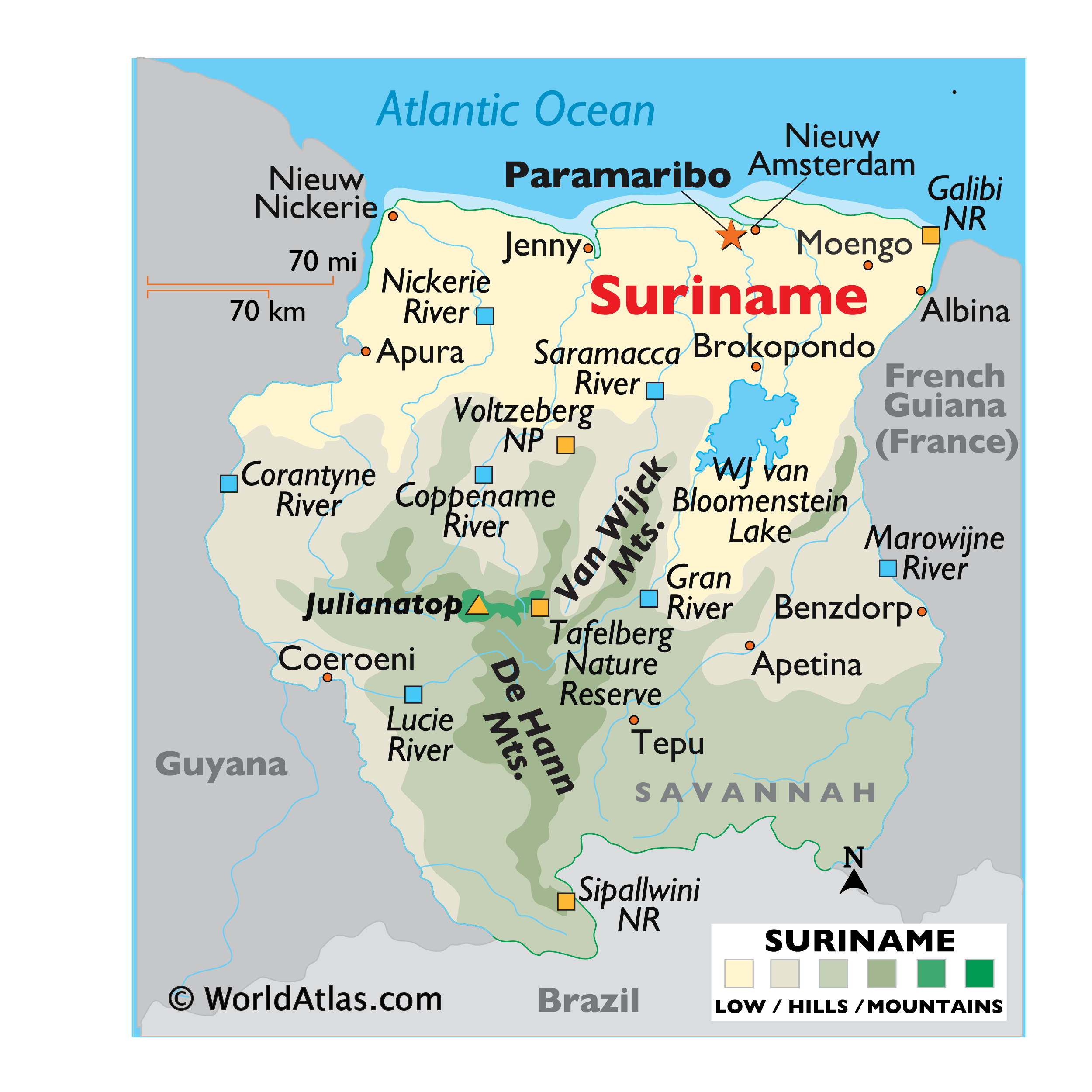 Physical Map of Suriname showing relief, mountain ranges, the WJ van Bloomenstein Lake, important rivers, protected areas, and more.