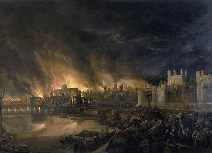 An anonymous artist's rendition of the 17th Century Great Fire of London.
