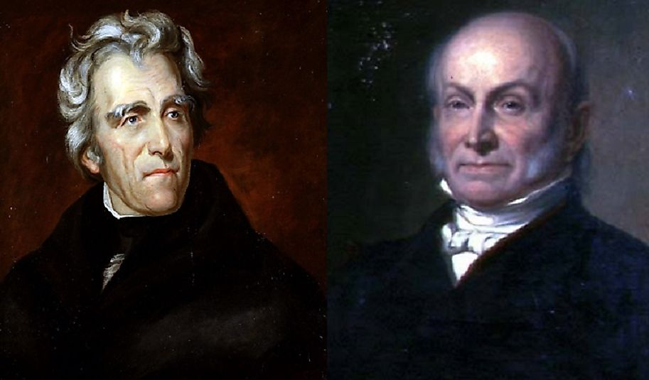 In 1824, Andrew Jackson (left) received far more popular votes than John Q. Adams (right), yet lost in a 4-man race by way of what Jackson called a corrupt bargain.