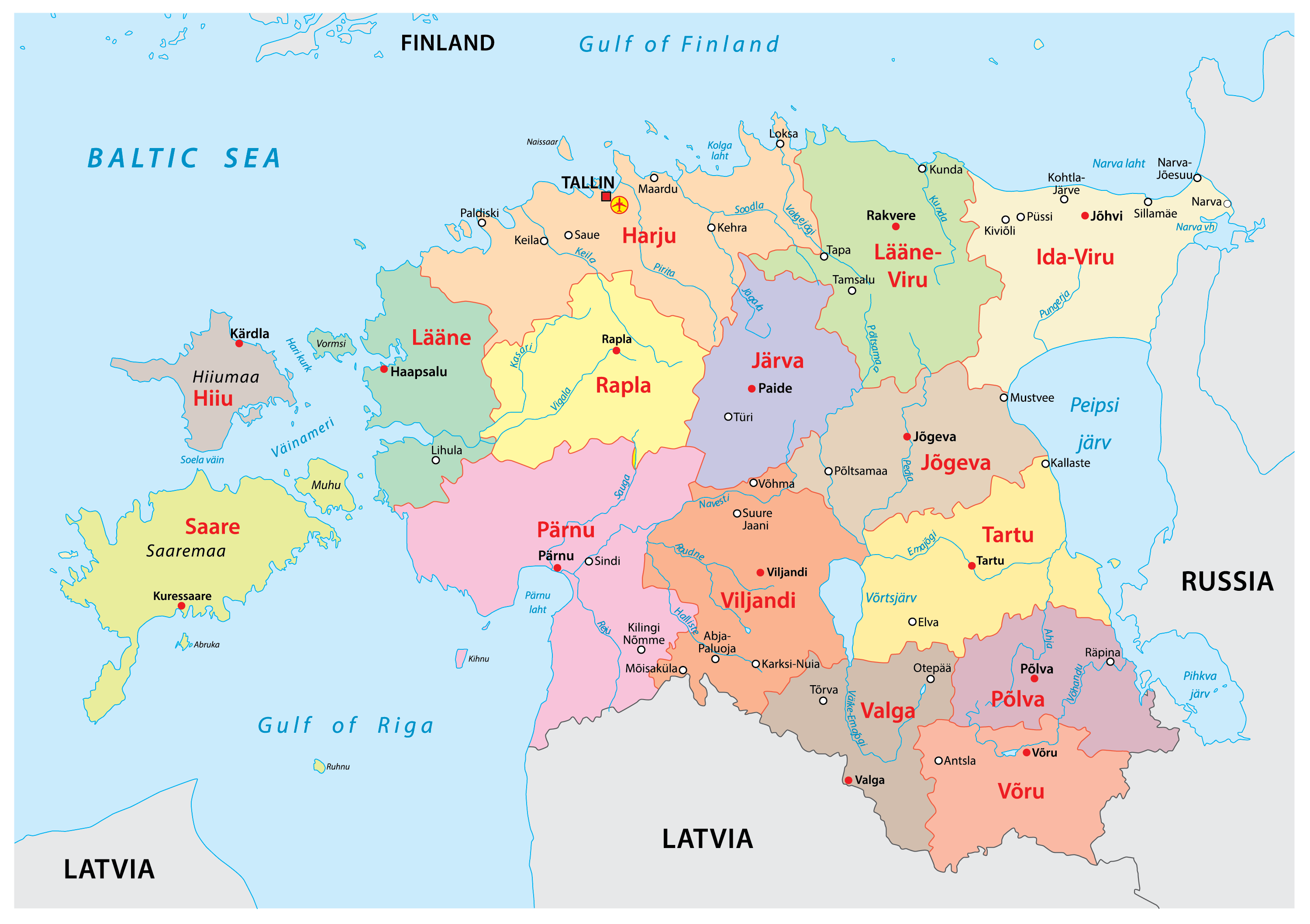 Political Map of Estonia showing its 15 counties and the capital city of Tallinn