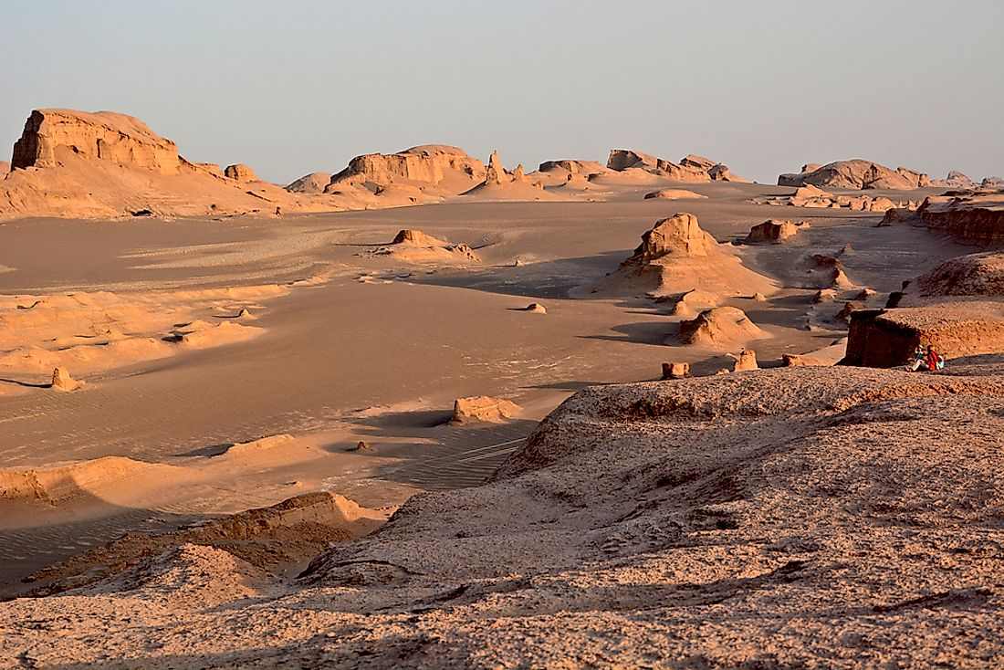 The Dasht-e Lut Desert is famous for its stunning landscape, including the sand dune formations.