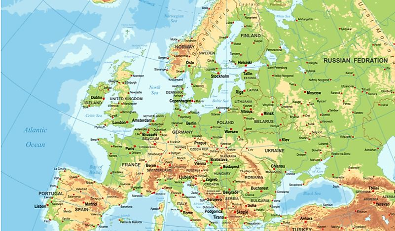 mountain map of europe The Major Mountain Ranges In Europe   WorldAtlas