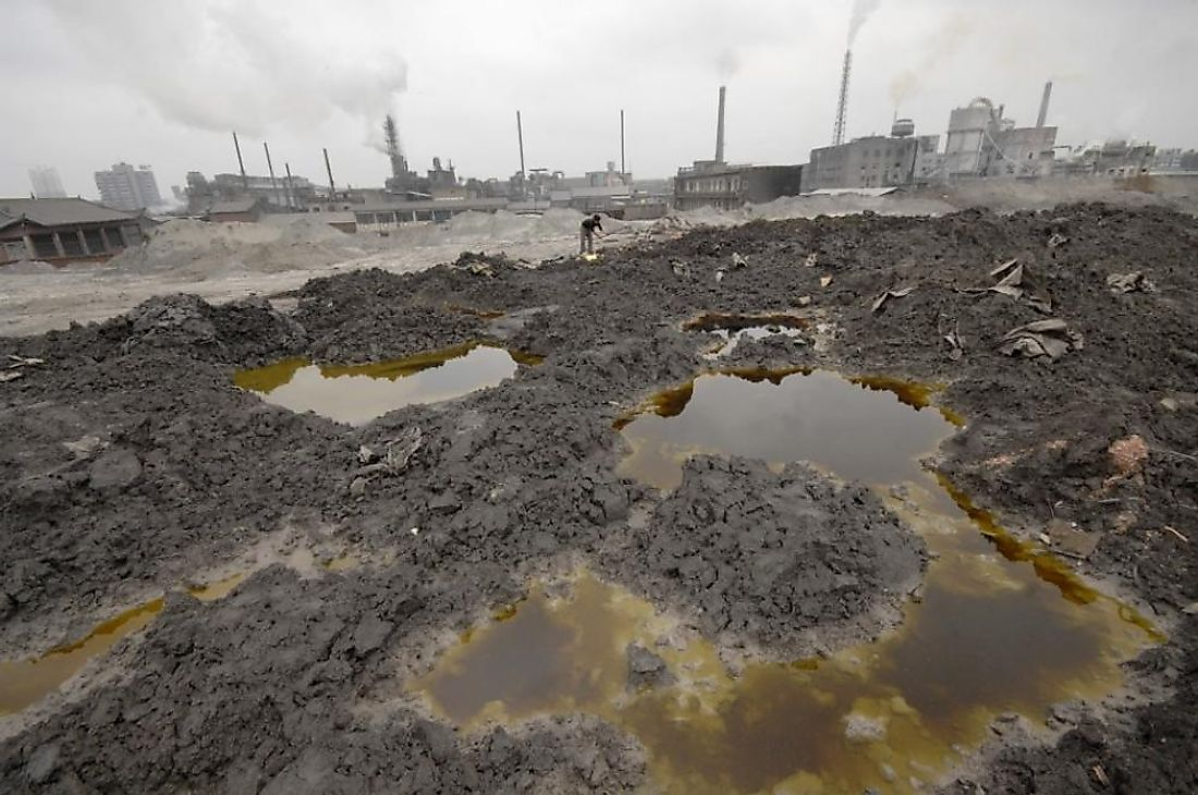 Chemicals from factories polluting the soil and groundwater.