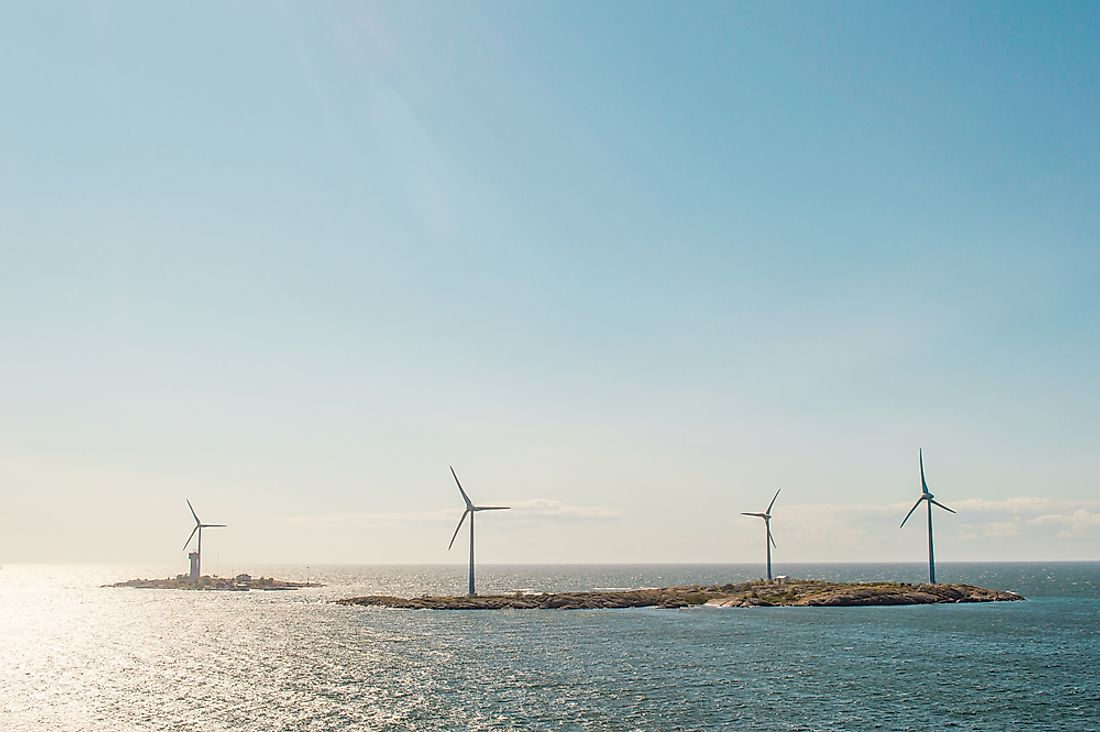 Windmills in the Baltic Sea near Sweden. Sweden has not only reached but has surpassed its goal of using predominantly renewable energy.