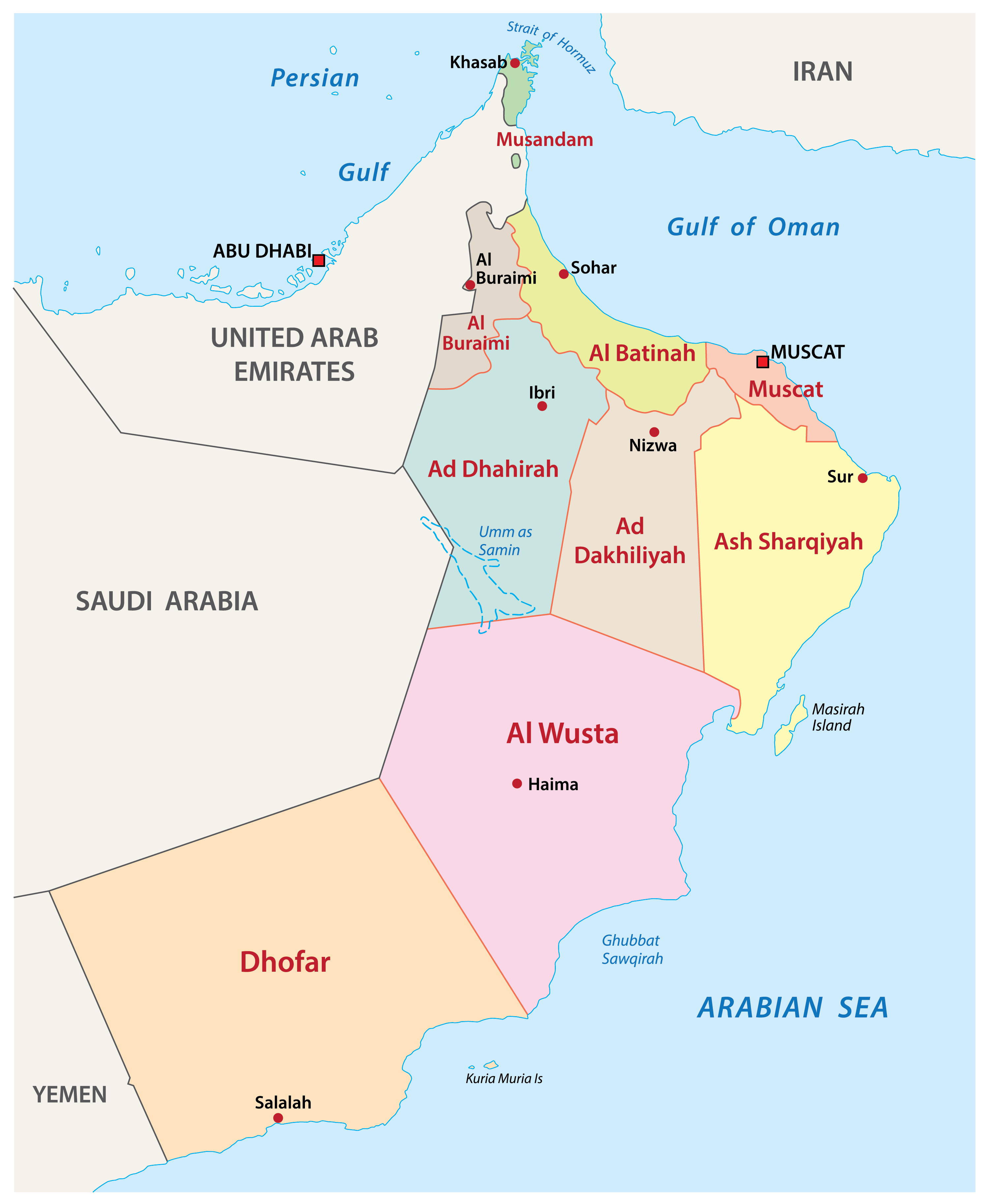 Oman Political Map (pre-2011 when the country had 9 governorates).