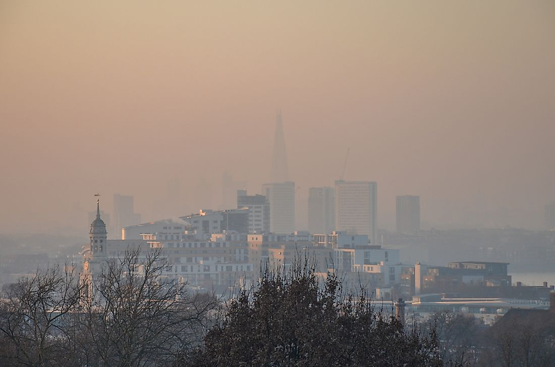 The skyline of London under a cloak of smog.