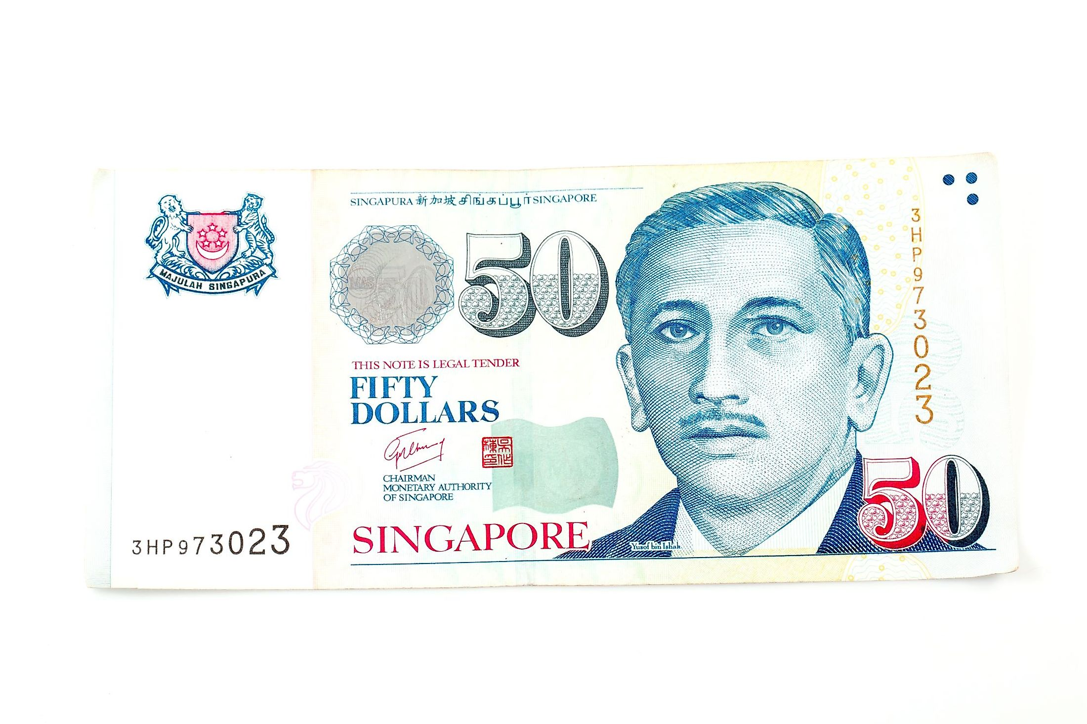 Singaporean dollar banknotes.