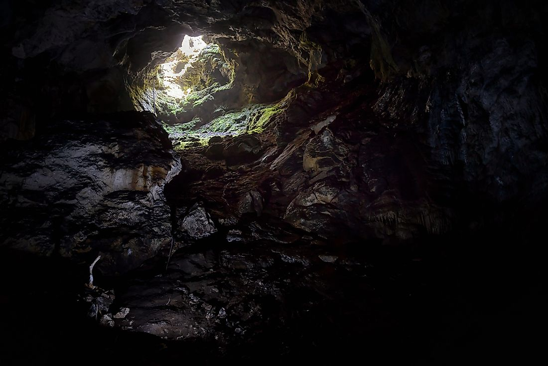 The interior of a karst cave.