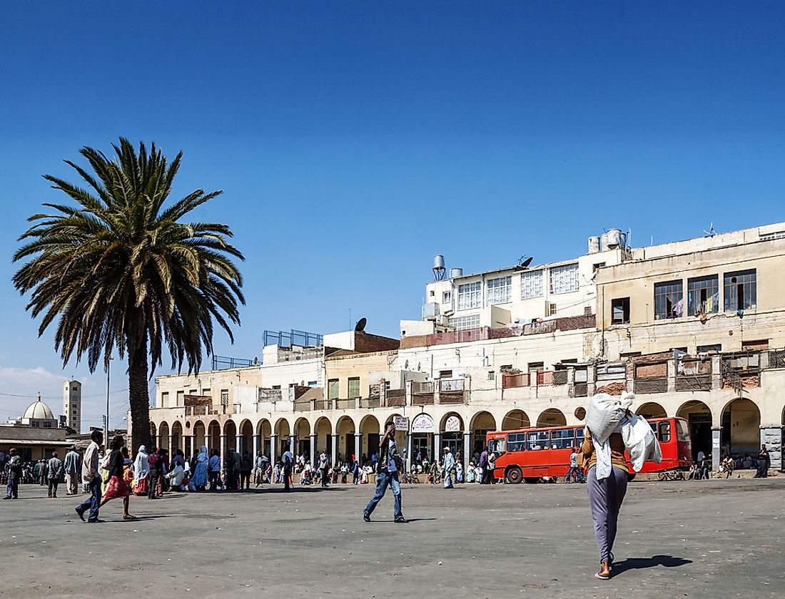 Shoppers in the city center of Asmara, Eritrea.