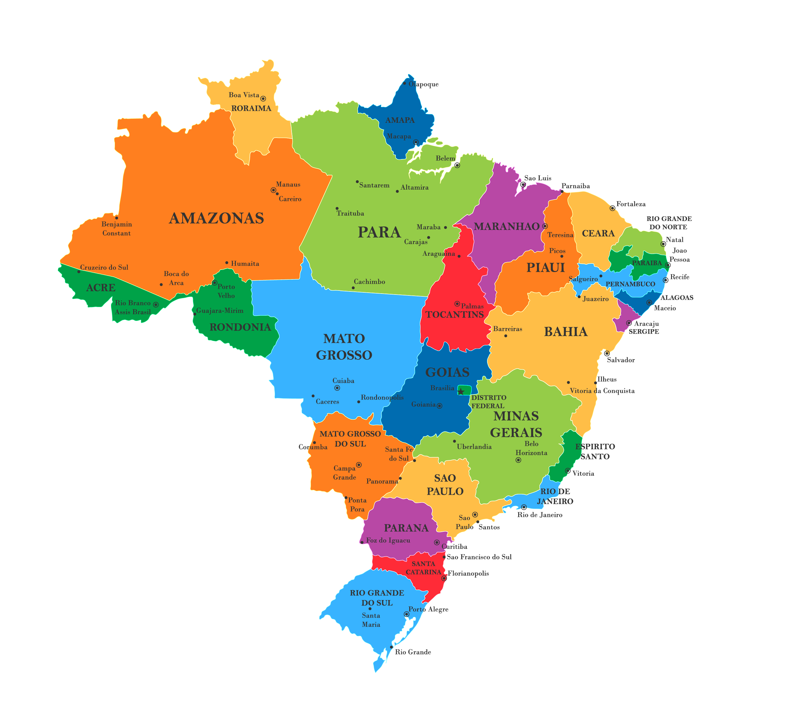 Political Map of Brazil showing its 26 states and 1 Federal District and the capital city of Brasilia