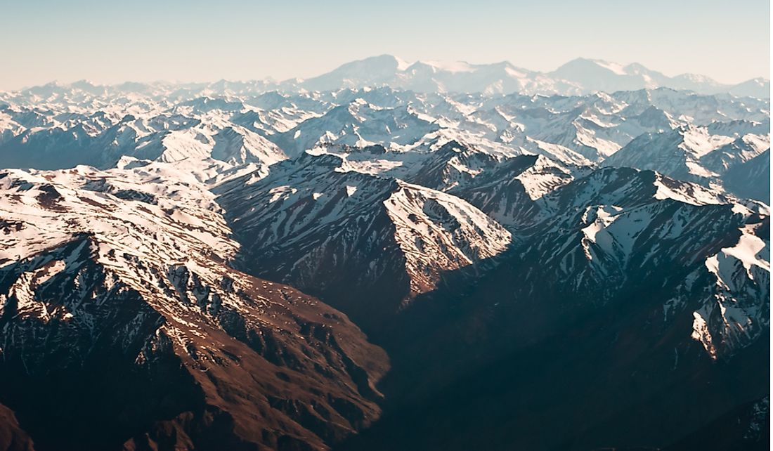 Andes mountains along the Argentina-Chile border.