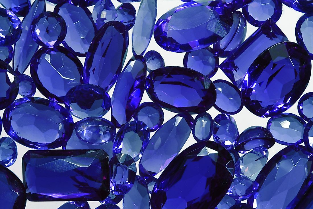 A group of blue sapphires.