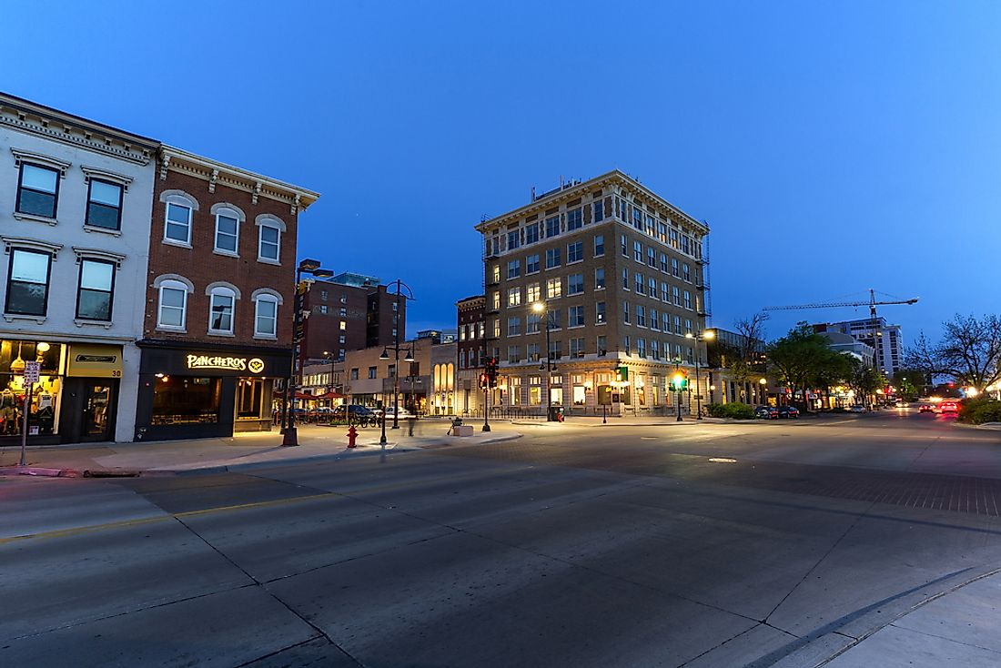 Downtown Iowa City, Iowa at twilight. Editorial credit: David Harmantas / Shutterstock.com.