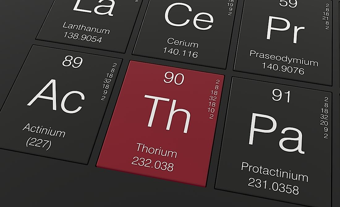 Thorium (Th) is a weak radioactive element of the actinide series.