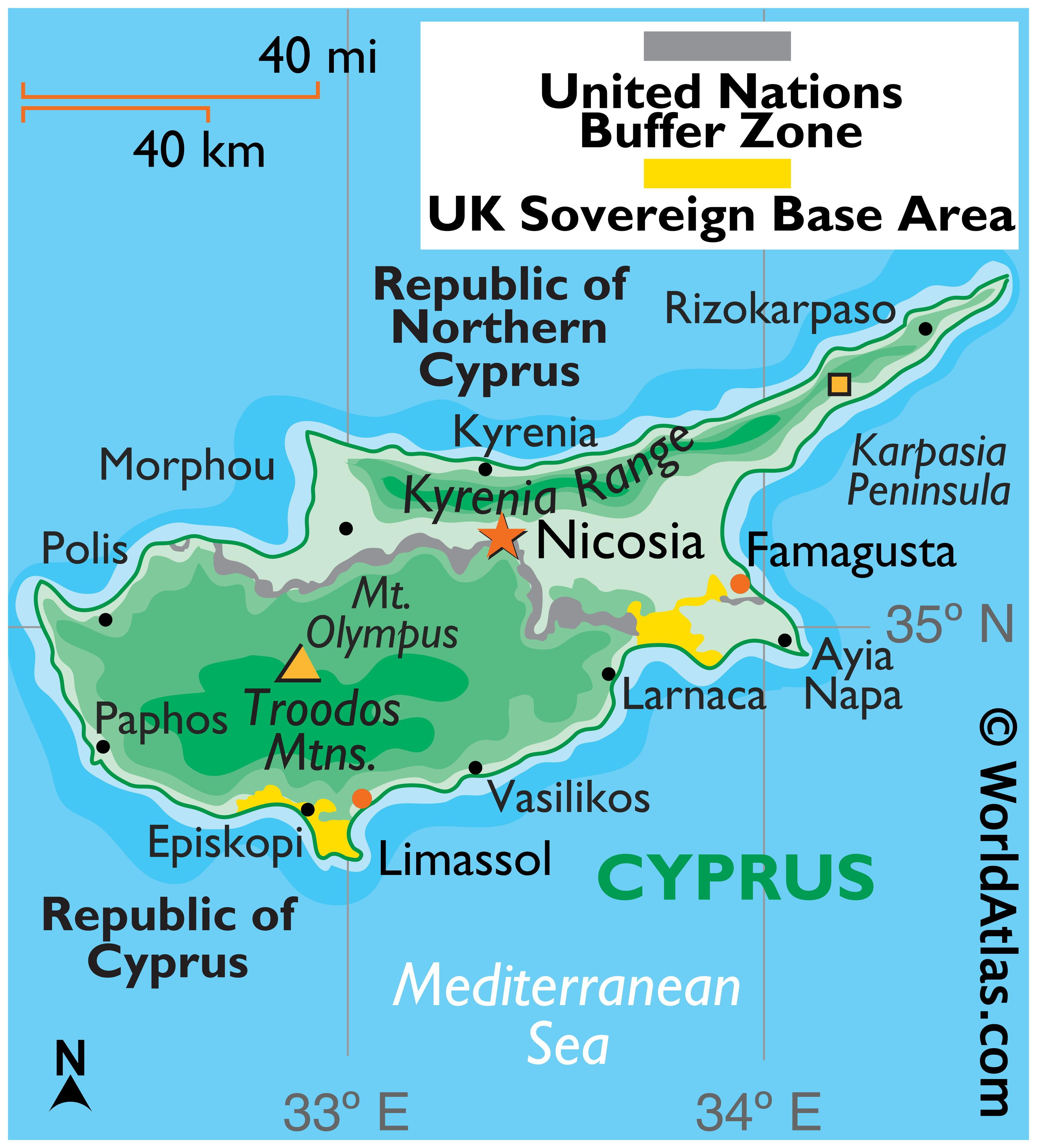 Physical Map of Cyprus showing relief, highest point, major mountain ranges, important urban centres, etc.