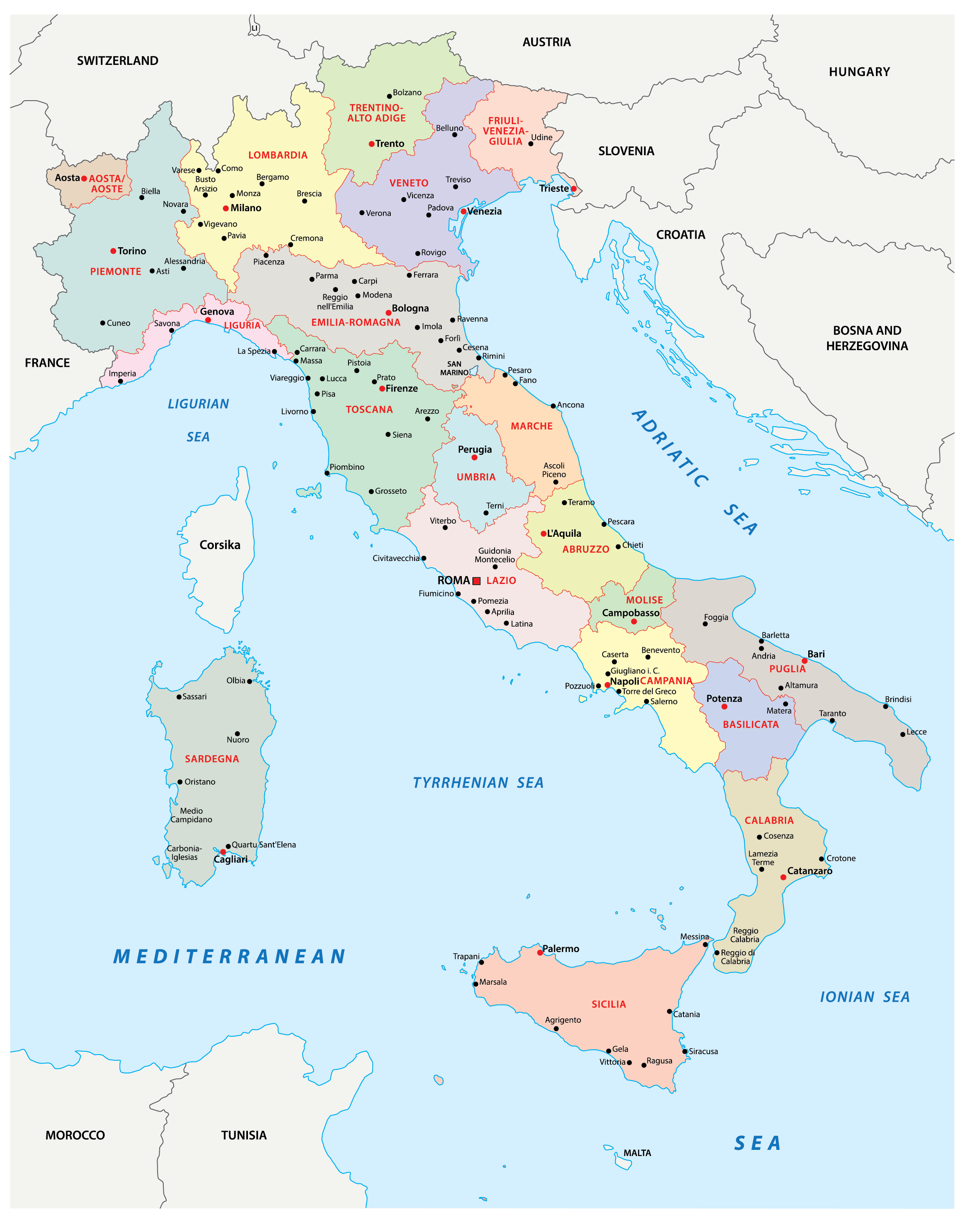 Political Map of Italy showing its 15 regions and 5 autonomous regions and the capital city of Rome.