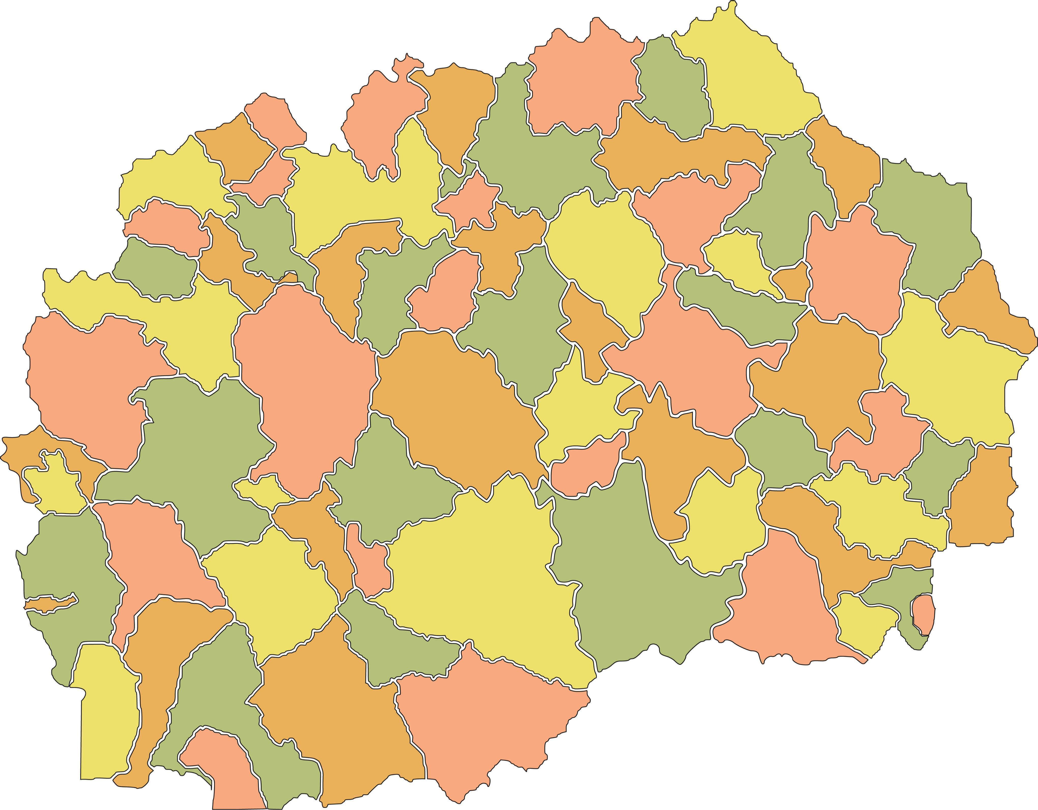 Political Map of North Macedonia showing its 80 municipalities and the capital city of Skopje