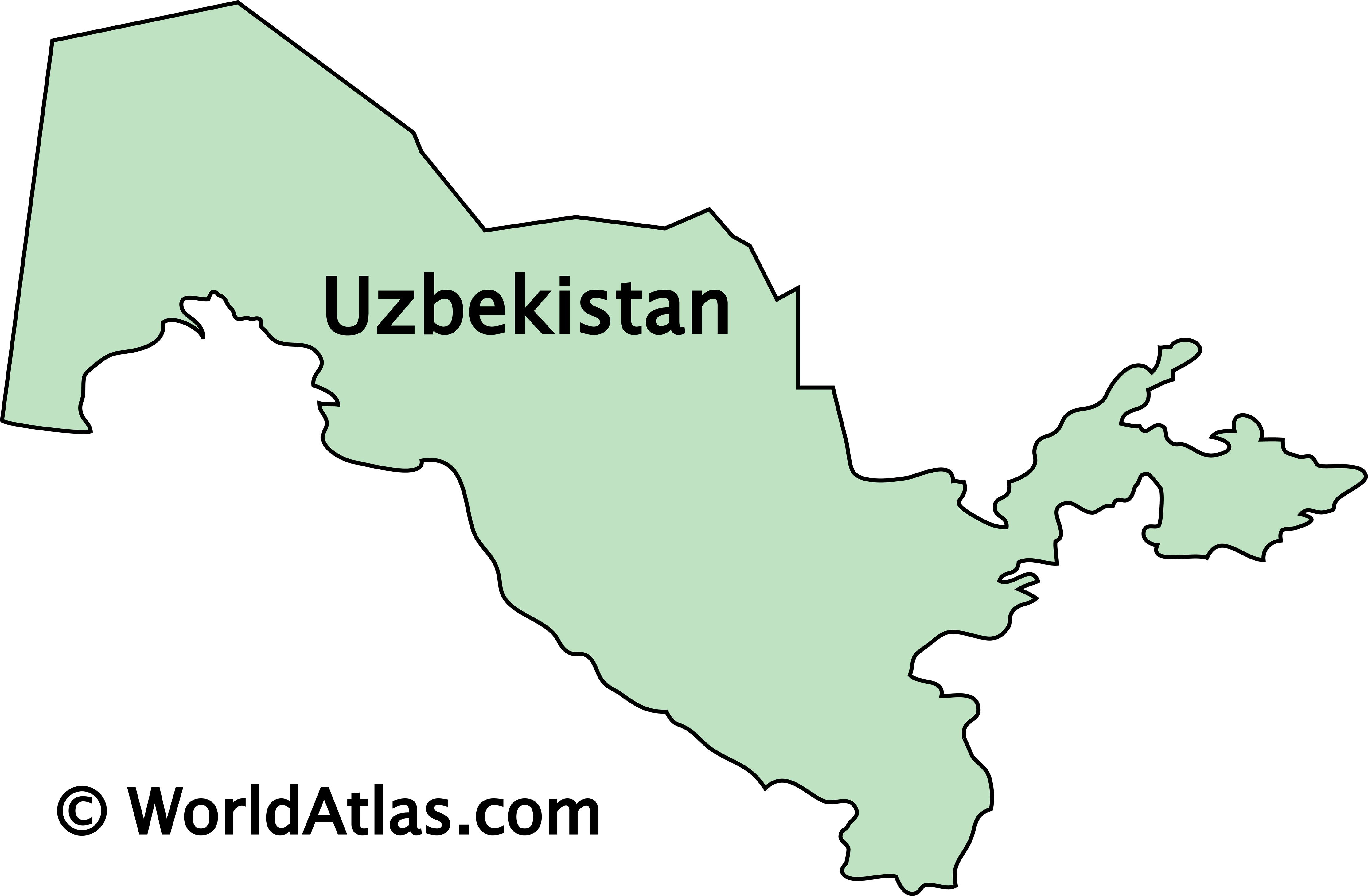 Outline Map of Uzbekistan