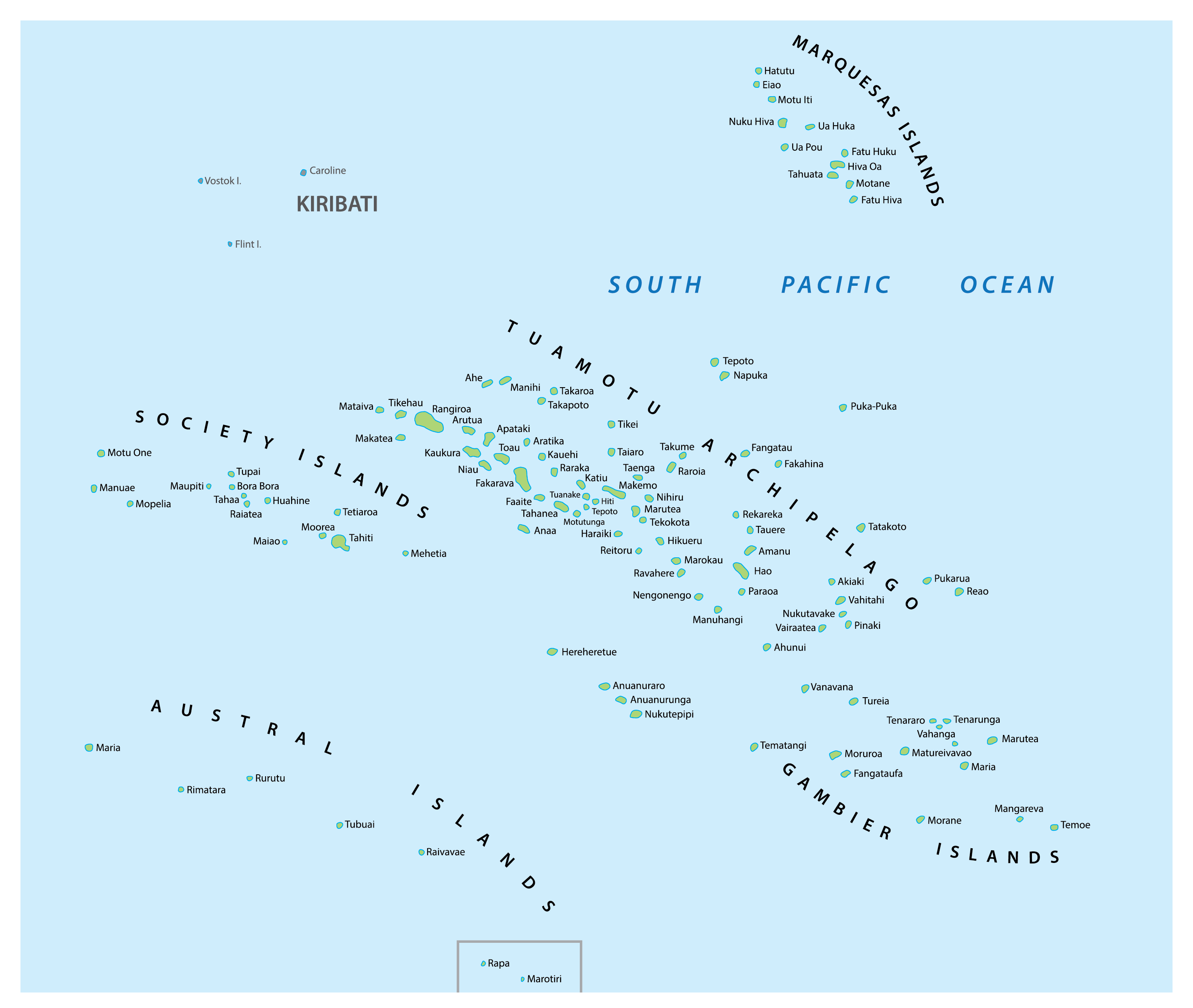Map of French Polynesia showing major locations.