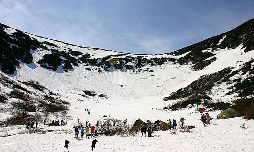 Tuckerman Ravine cirque, headwall and spring skiers, New Hampshire.