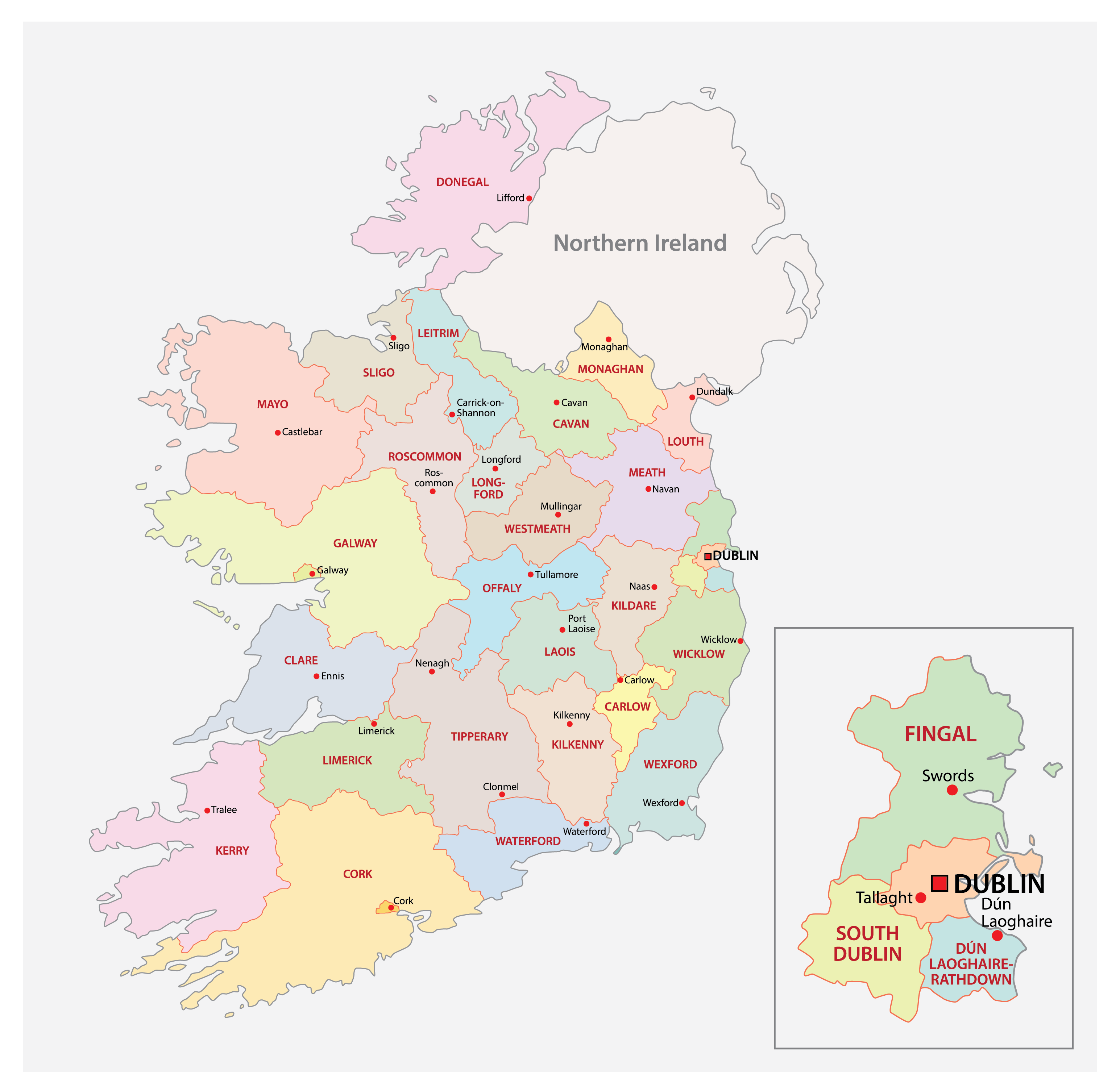 Political Map of Republic of Ireland showing its 31 administrative areas and the capital city of Dublin