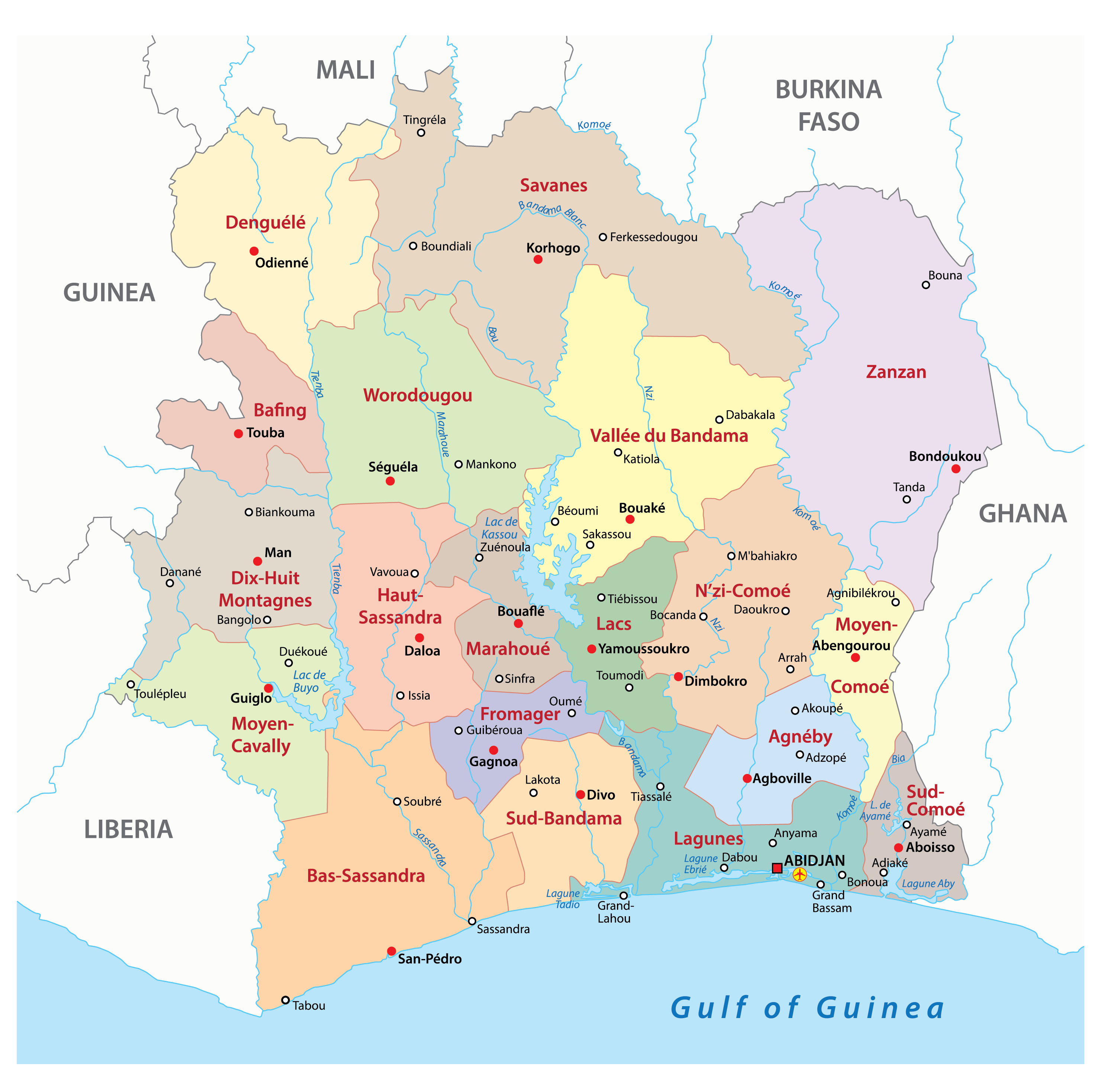 Political Map of Ivory Coast displaying the 14 districts including the capital city of Abidjan.