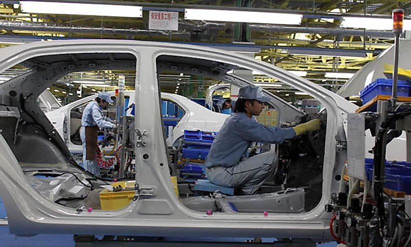 Cars being manufactured at a car factory in Japan.