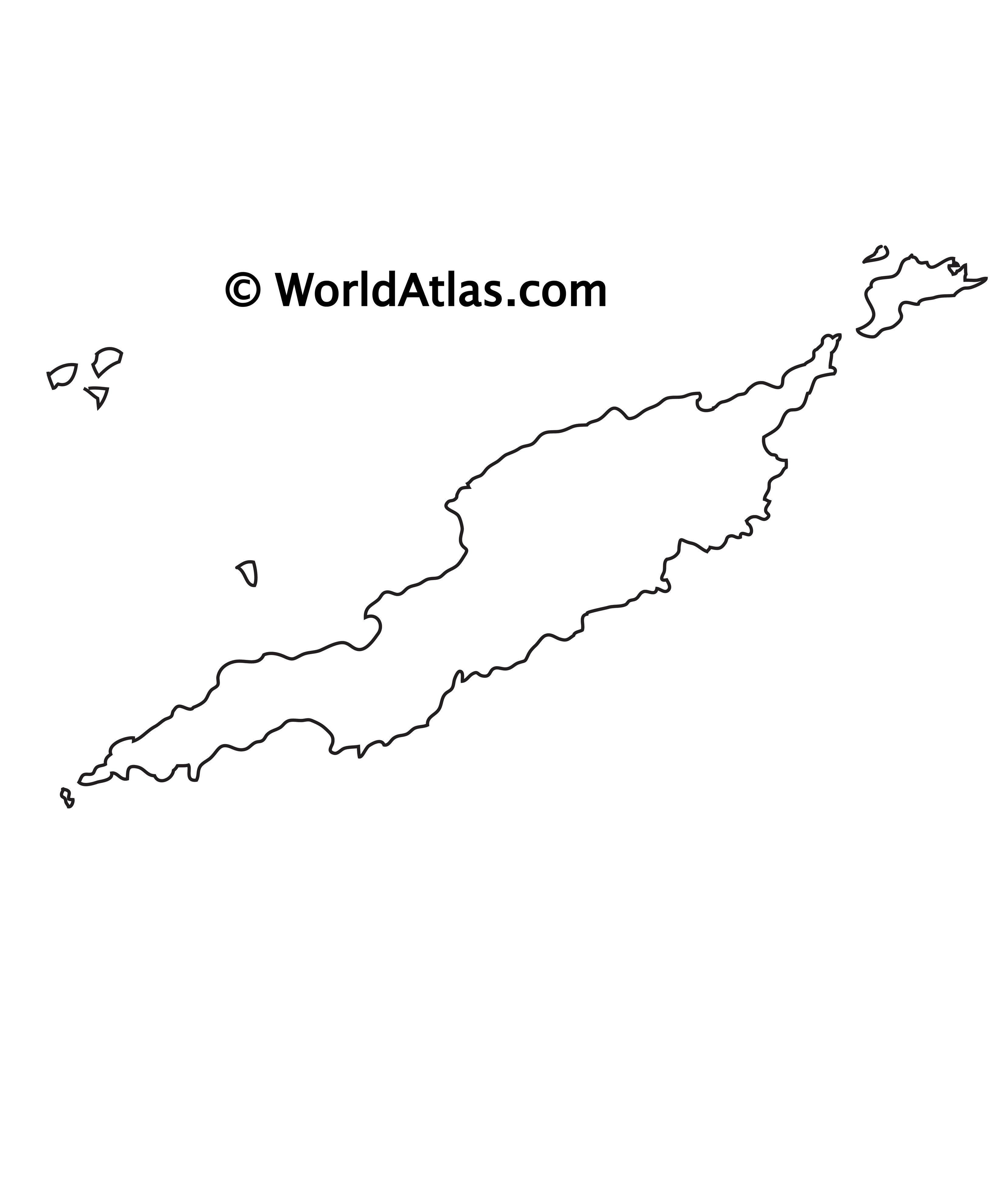 Blank Outline Map of Anguilla