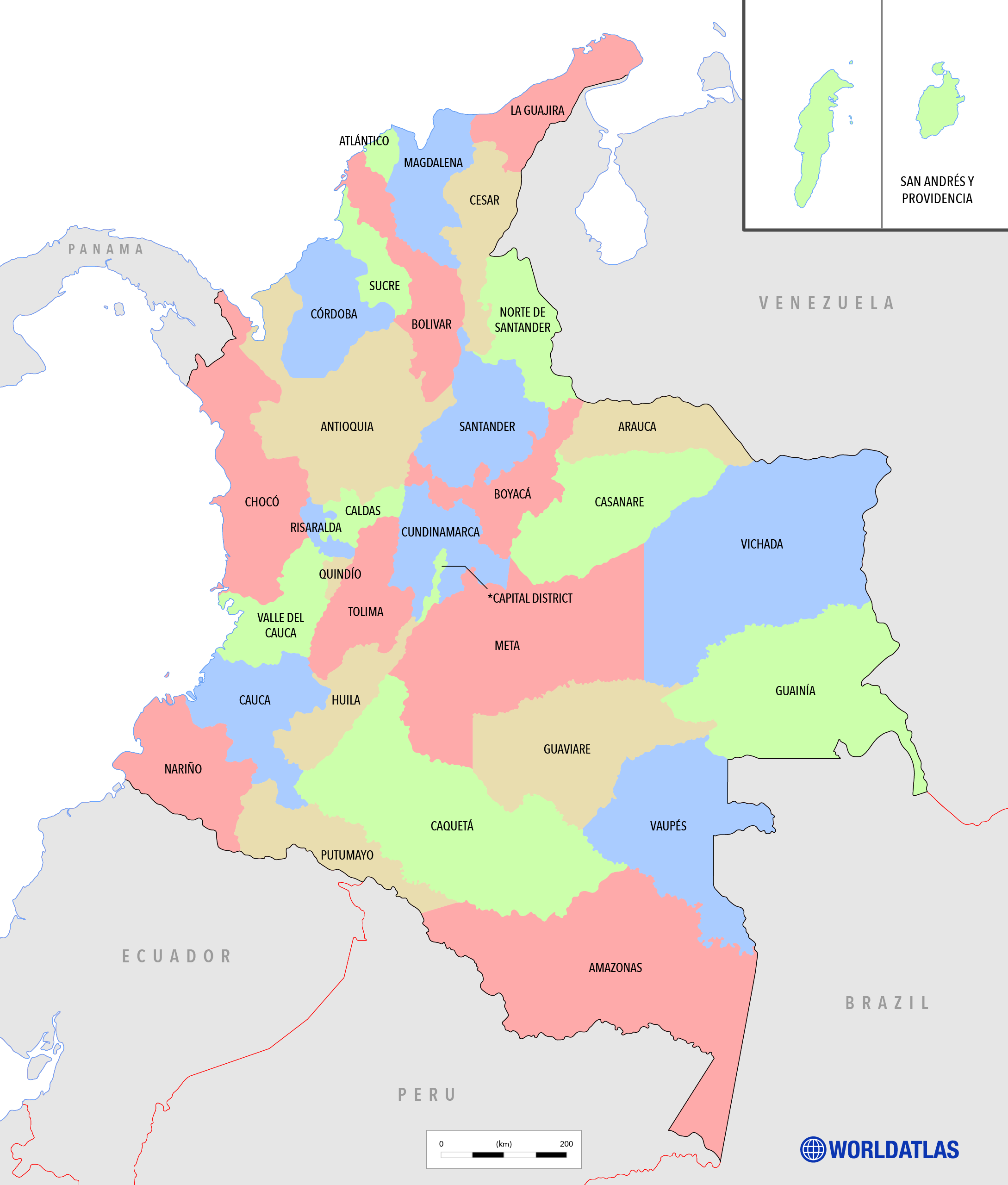 Map of Colombian Departments. Political map with Colombian departments labeled