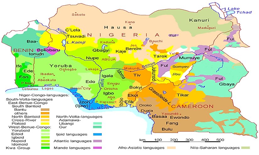 Map of languages of Nigeria, Cameroon, and Benin, showing subgrooups of the systematics of the Niger-Congo-family.