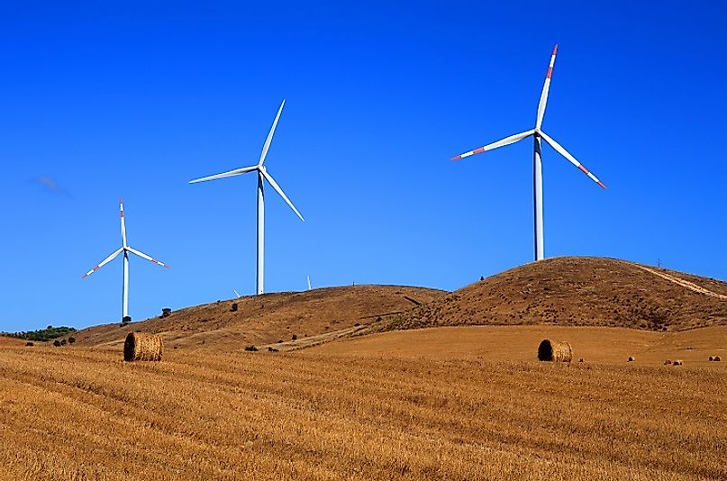 A wind farm produces clean power with these turbines near Alentejo, Portugal.