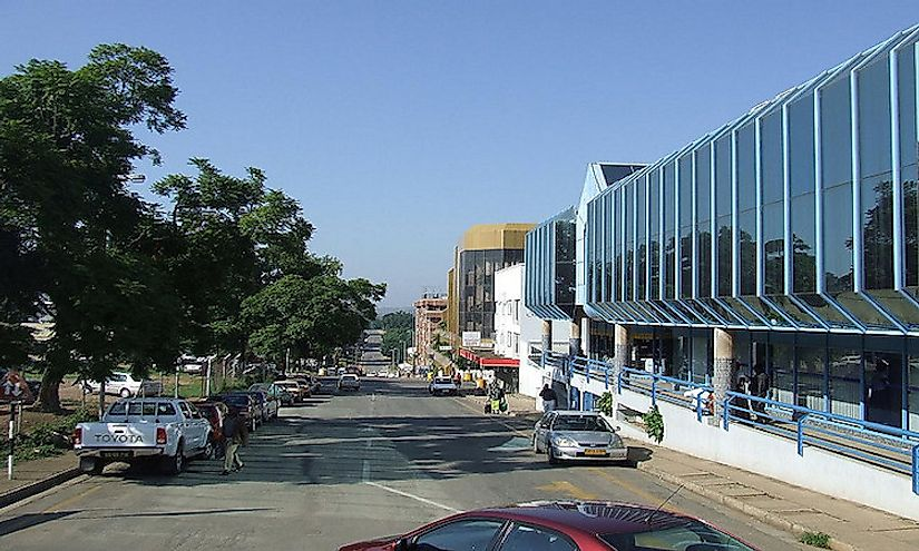 A street in the city of Manzini, Swaziland.