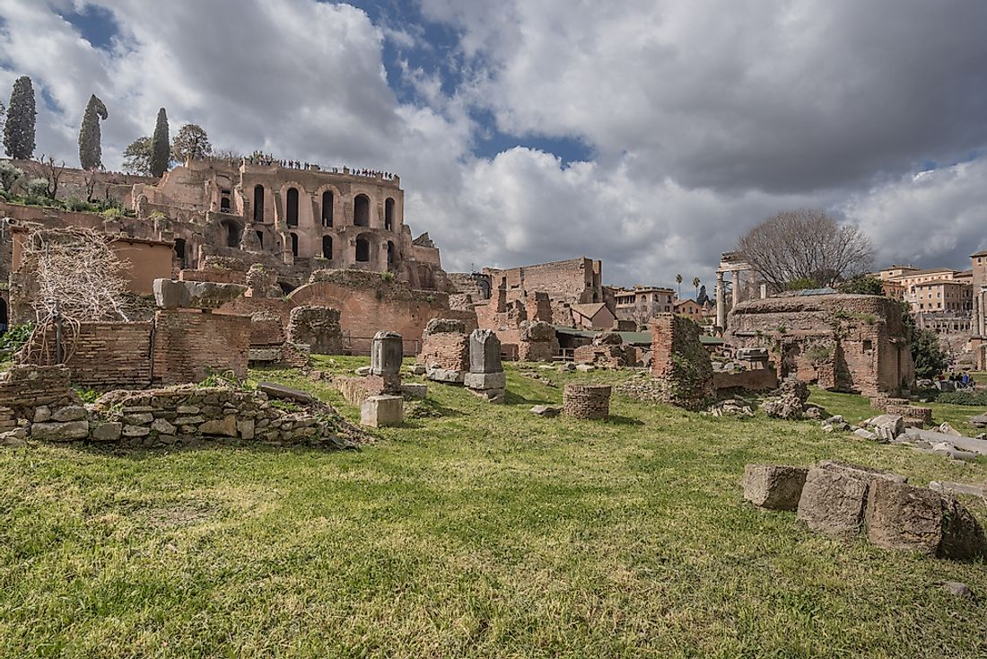 Ancient Roman ruins on Palatine Hill​.