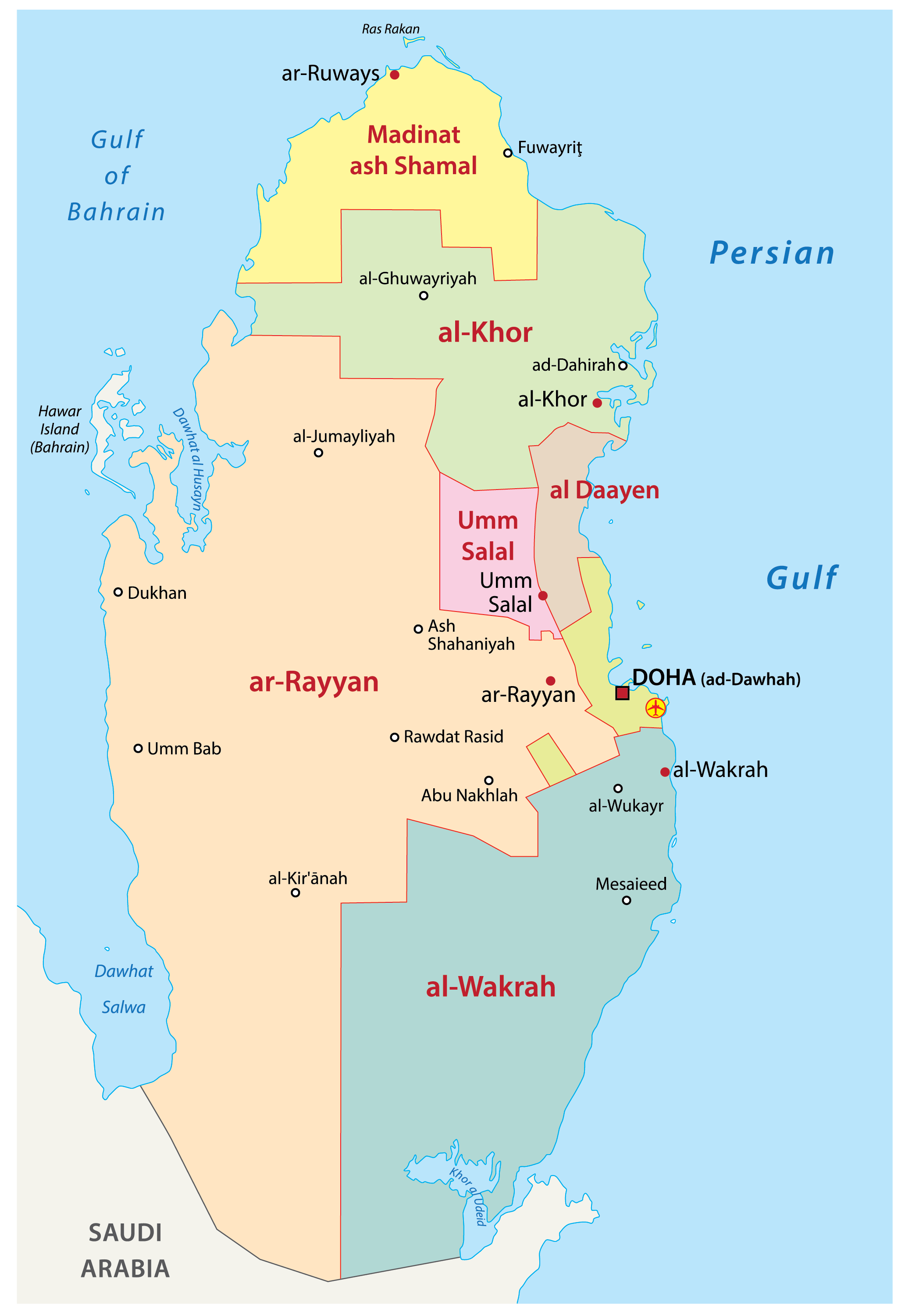 Political Map of Qatar showing the 8 municipalities, their capitals, and the national capital of Doha.