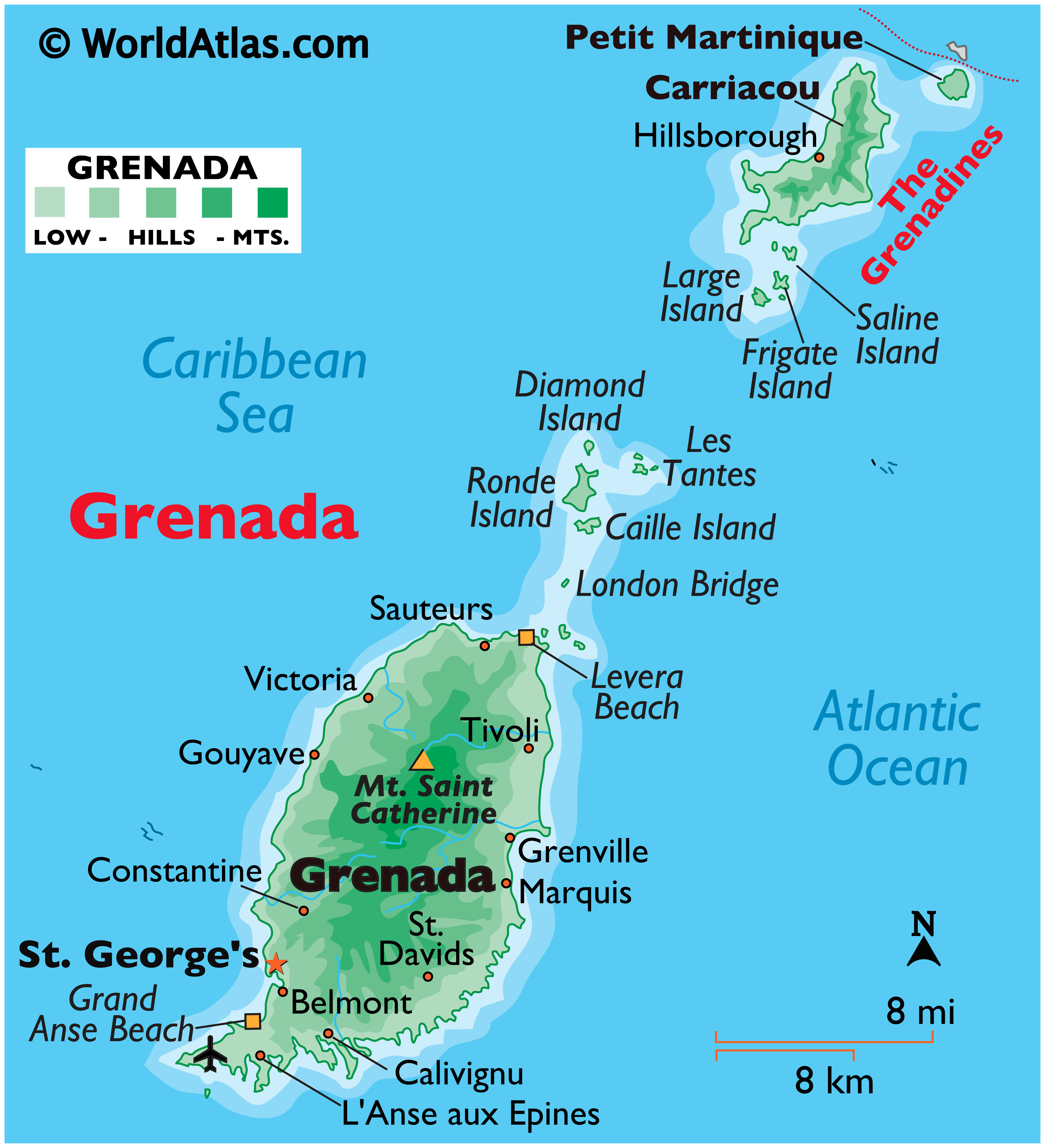 Physical Map of Grenada showing major islands, terrain, highest point, important settlements, beaches, etc.